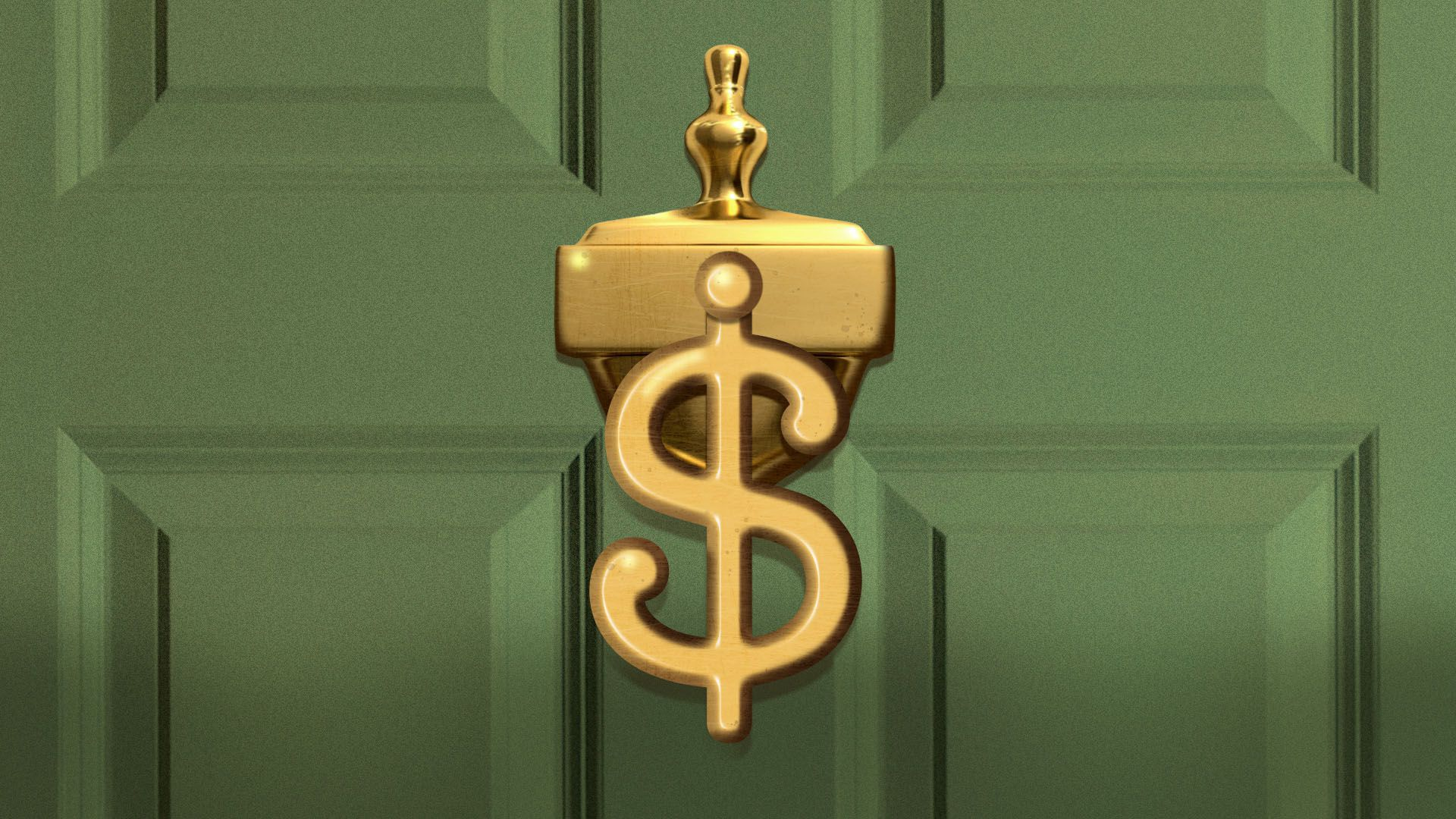 Illustration of a door knocker in the shape of a dollar sign