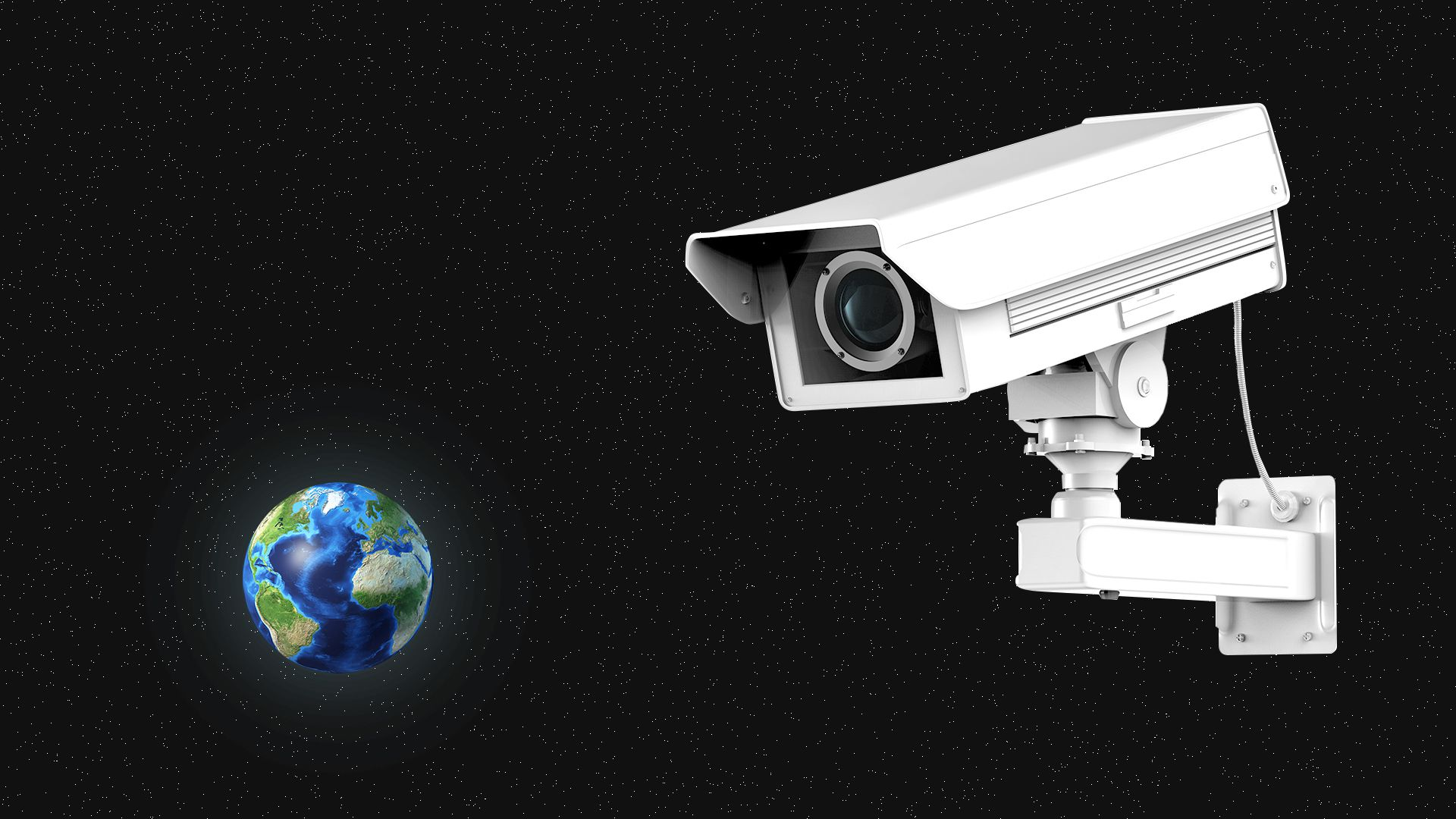 Illustration of a large surveillance camera examining a small Earth in orbit.