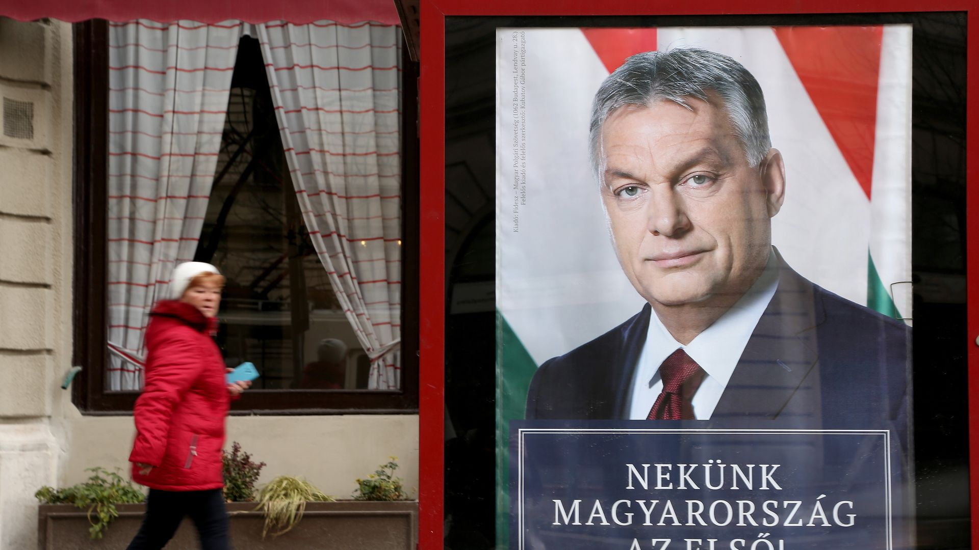 A poster featuring Hungarian Prime Minister Viktor Orban hangs prior to the upcoming Hungarian parliamentary elections on April 8, on March 17, 2018 in Budapest, Hungary.