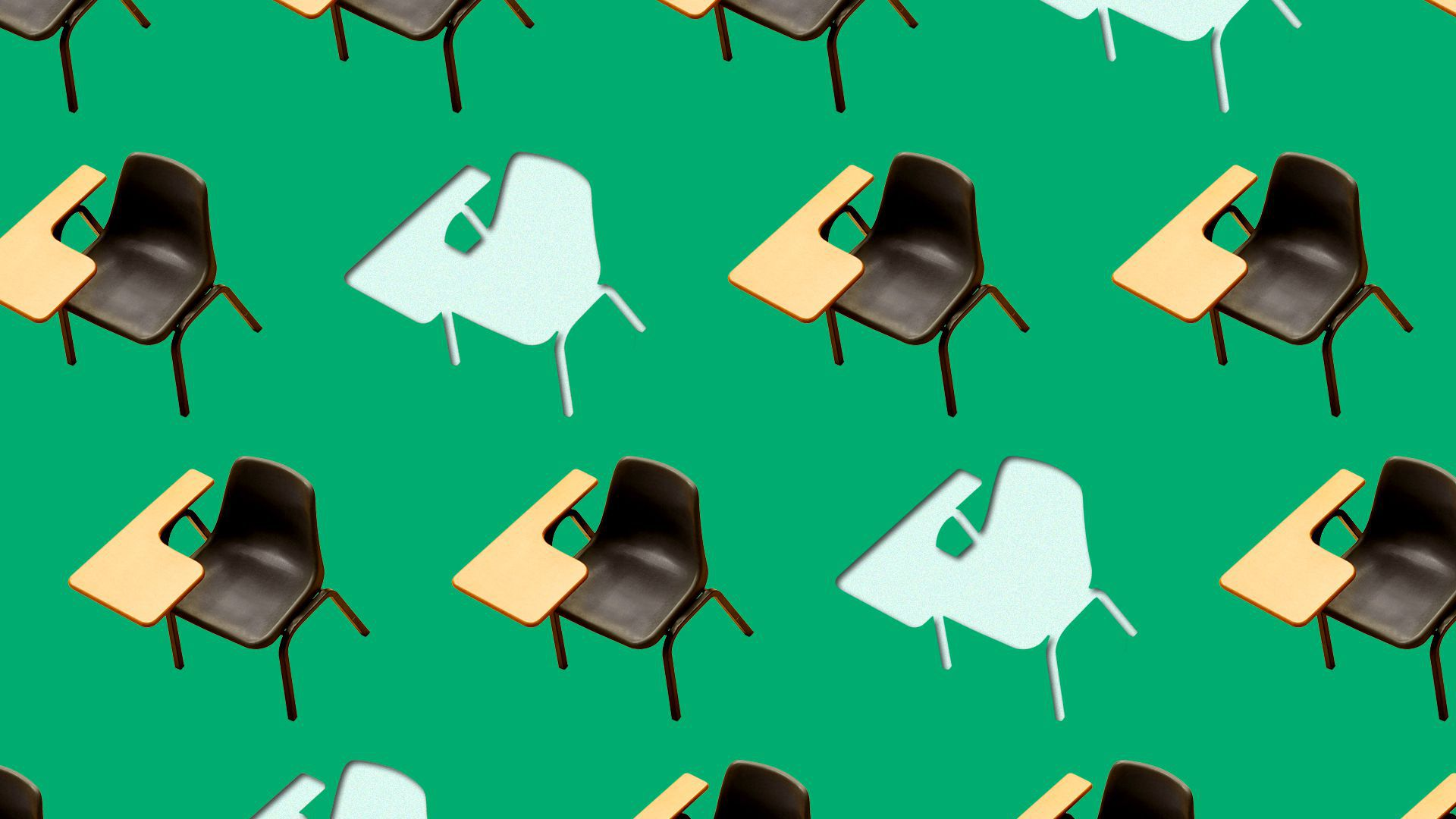 Illustration of school desks, some of them cut out with nothing behind them.