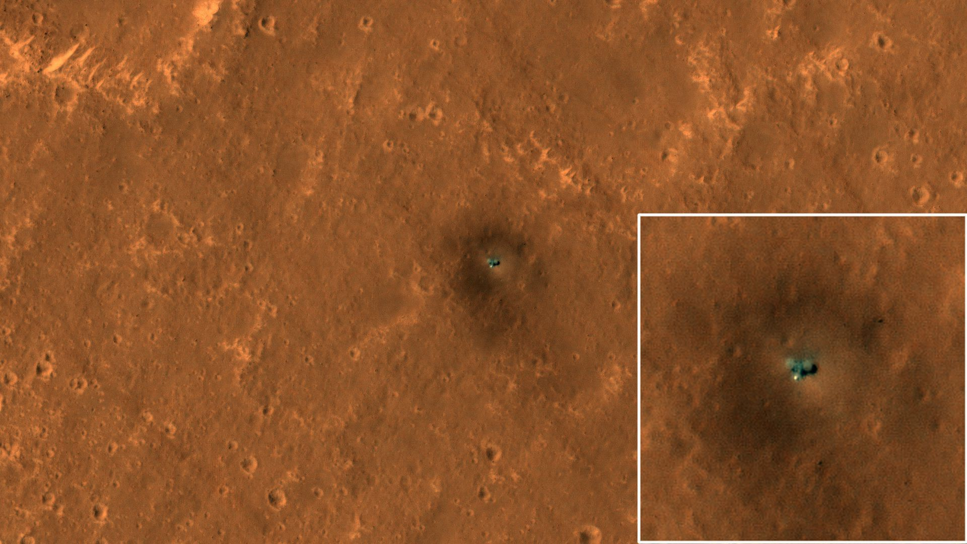 NASA's Mars Reconnaissance Orbiter caught sight of the space agency's InSight lander on the Martian surface