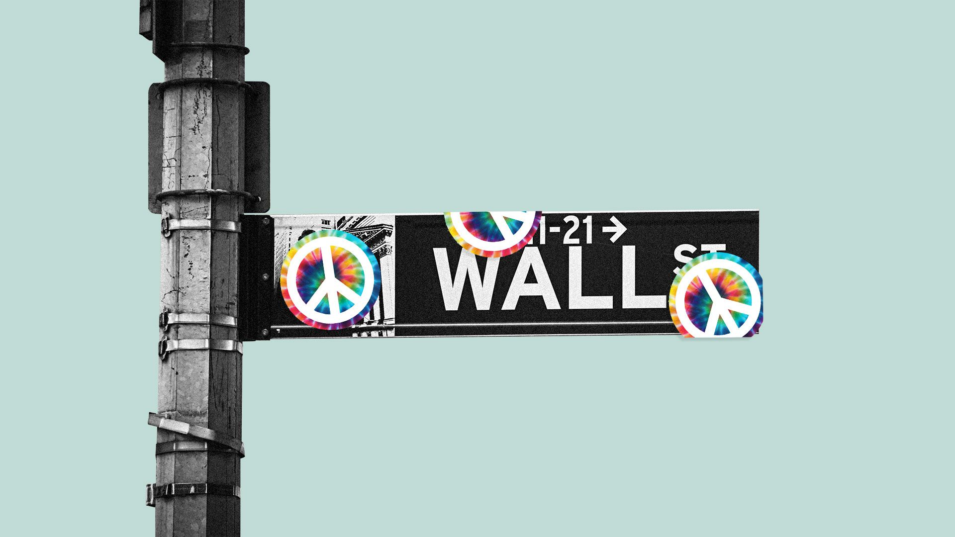 Illustration of the Wall Street sign with peace sign stickers all over it.