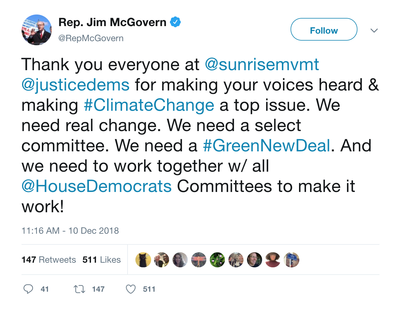 Screenshot of tweet by Rep McGovern on Green New Deal