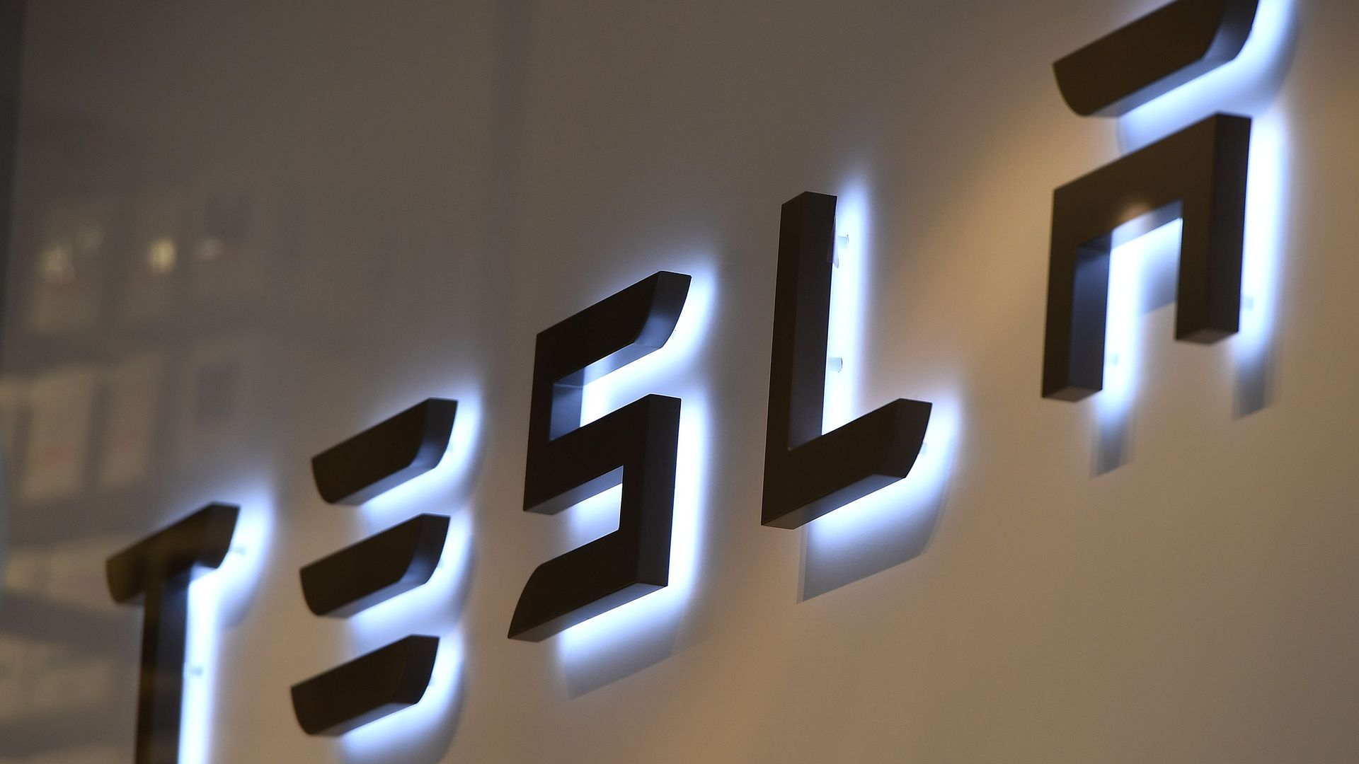 Tesla logo.