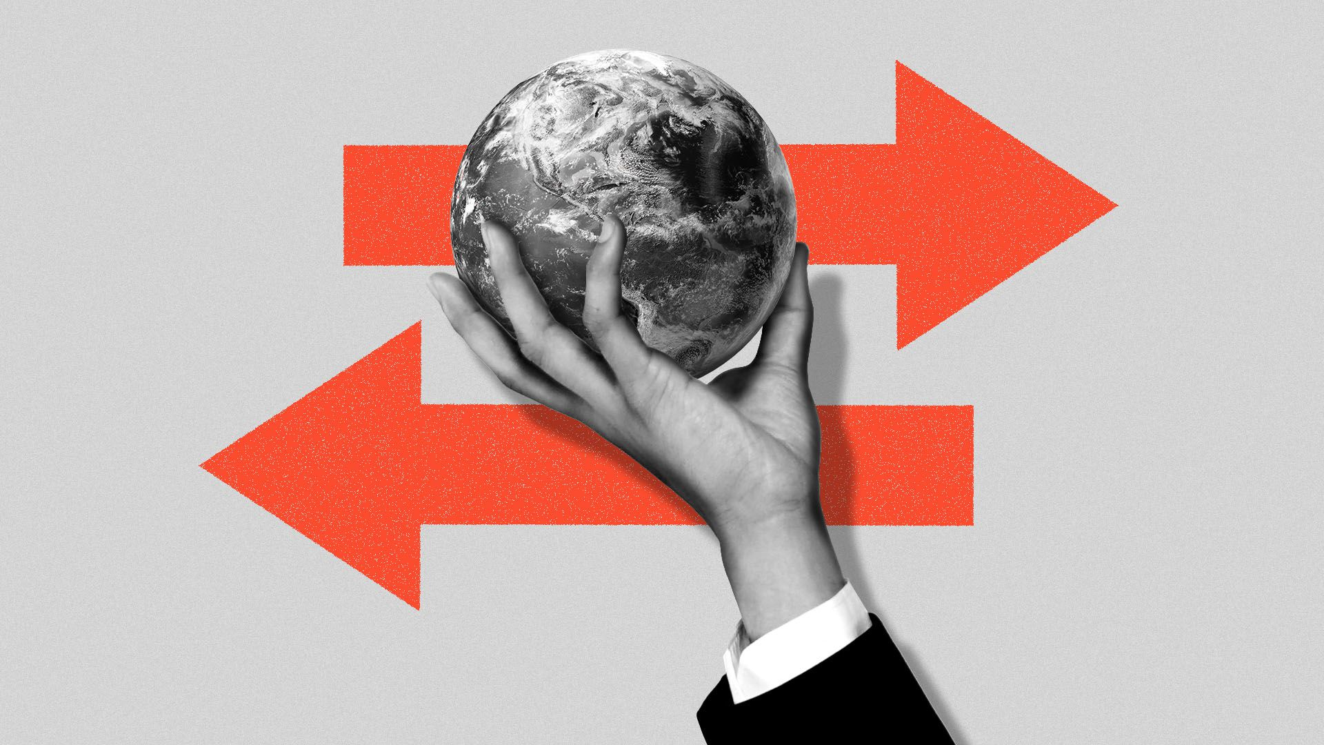 Illustration of a hand holding the globe, with two arrows going in different directions