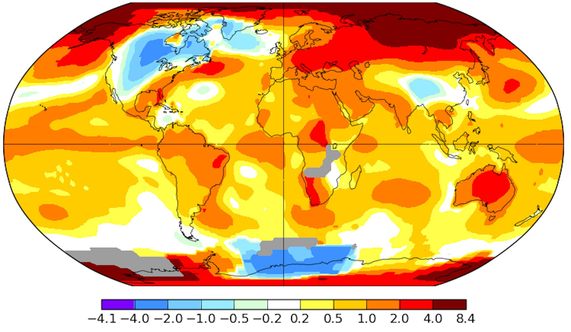 NASA image of earth's temperatures in October