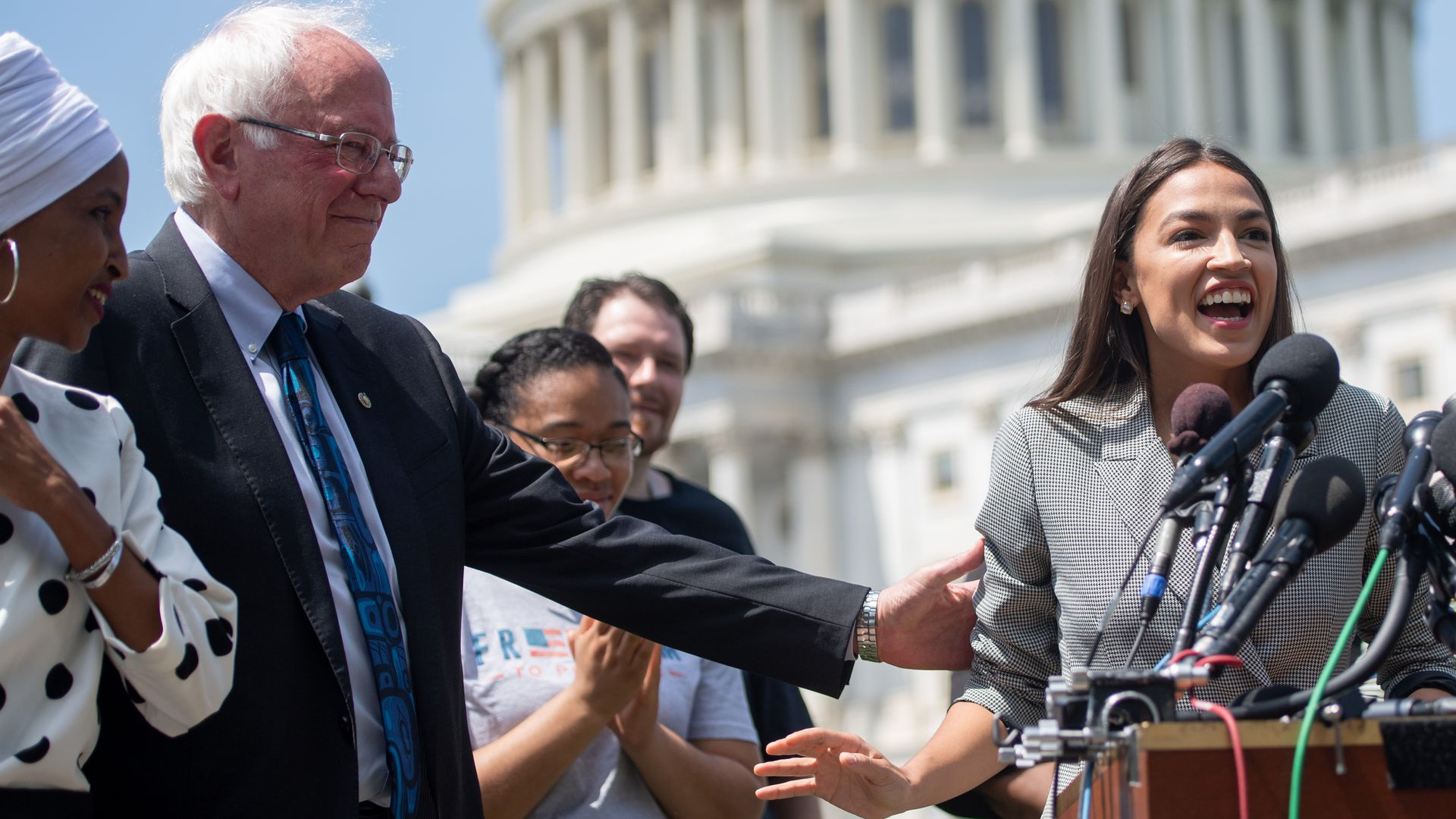 Sen. Bernie Sanders and Rep. Alexandria Ocasio-Cortez during a June press conference in Washington, D.C.