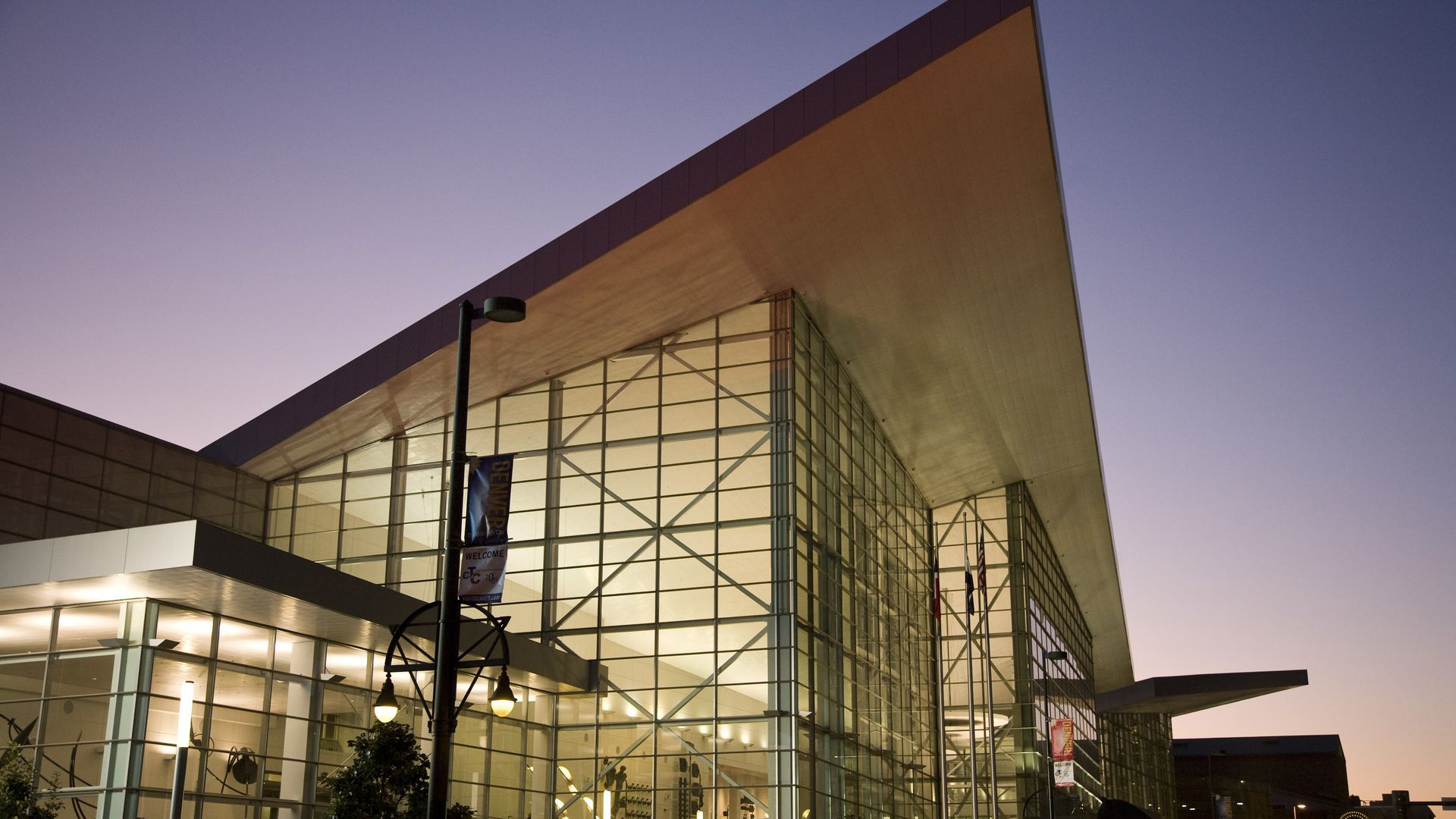 Denver Convention Center at dusk.