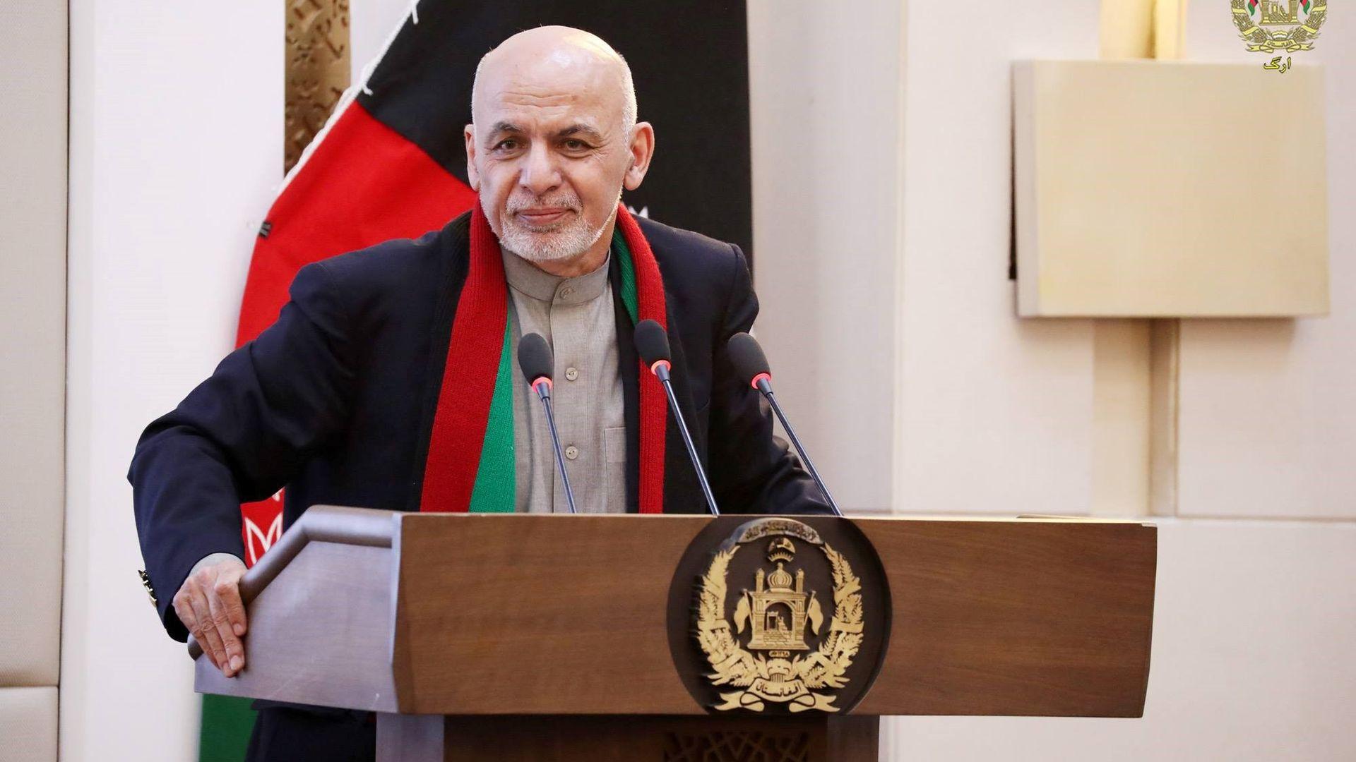 Ashfraf Ghani at a lectern