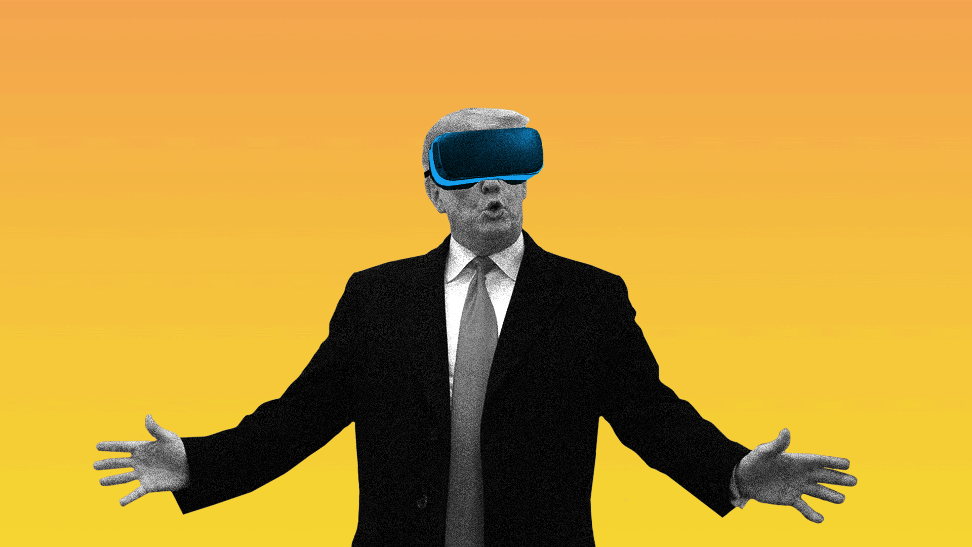 Illustration of President Trump wearing a virtual reality headset.