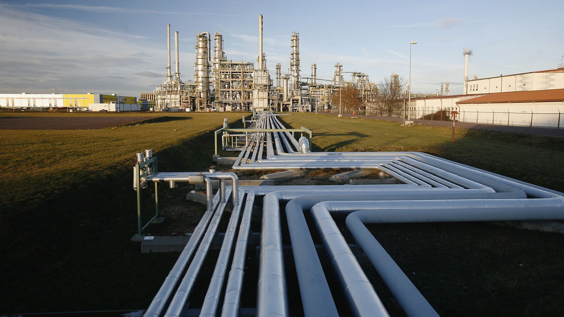 Oil pipelines at a refinery