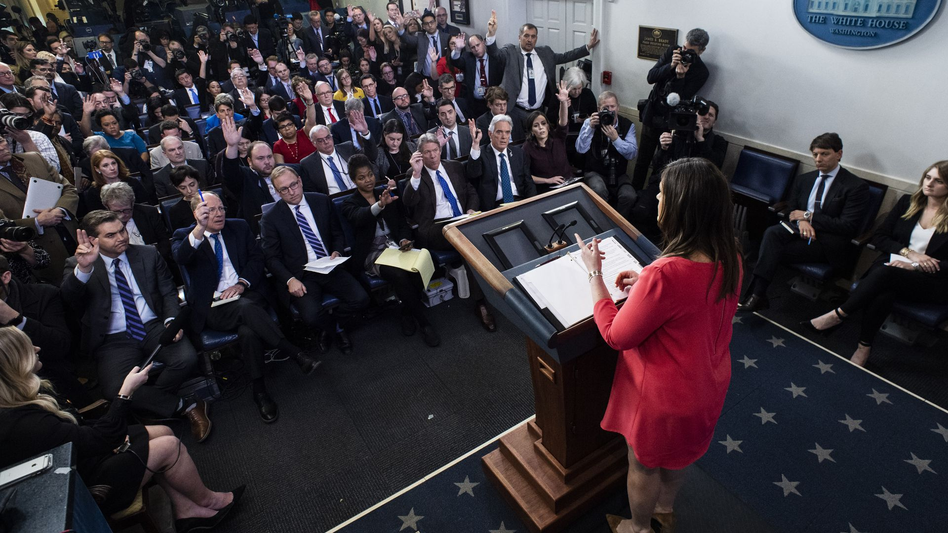 Former press secretary Sarah Huckabee Sanders holds a briefing at the White House.