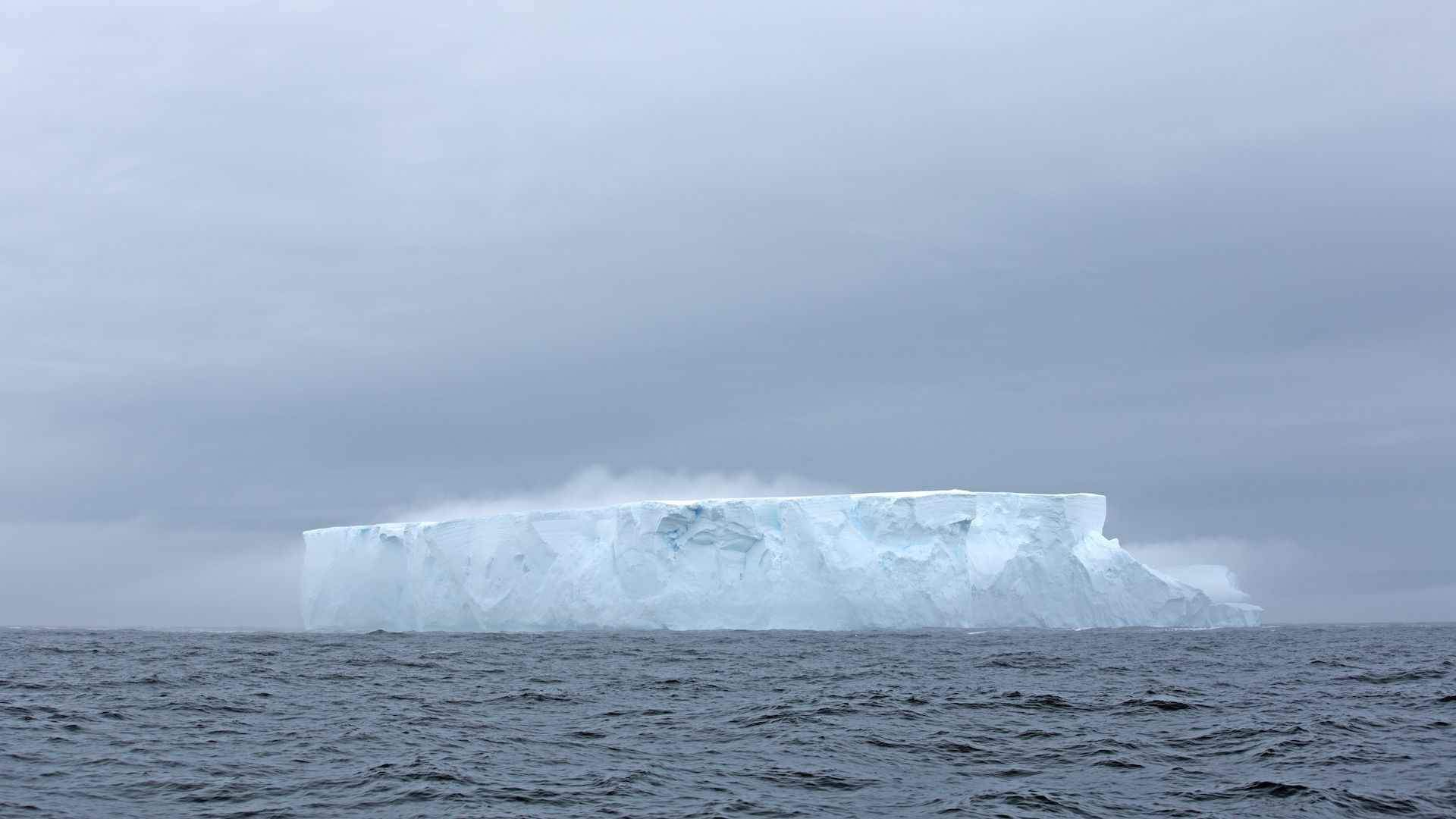 An iceberg in the Southern Ocean, where deeper ocean layers are warming and freshening.