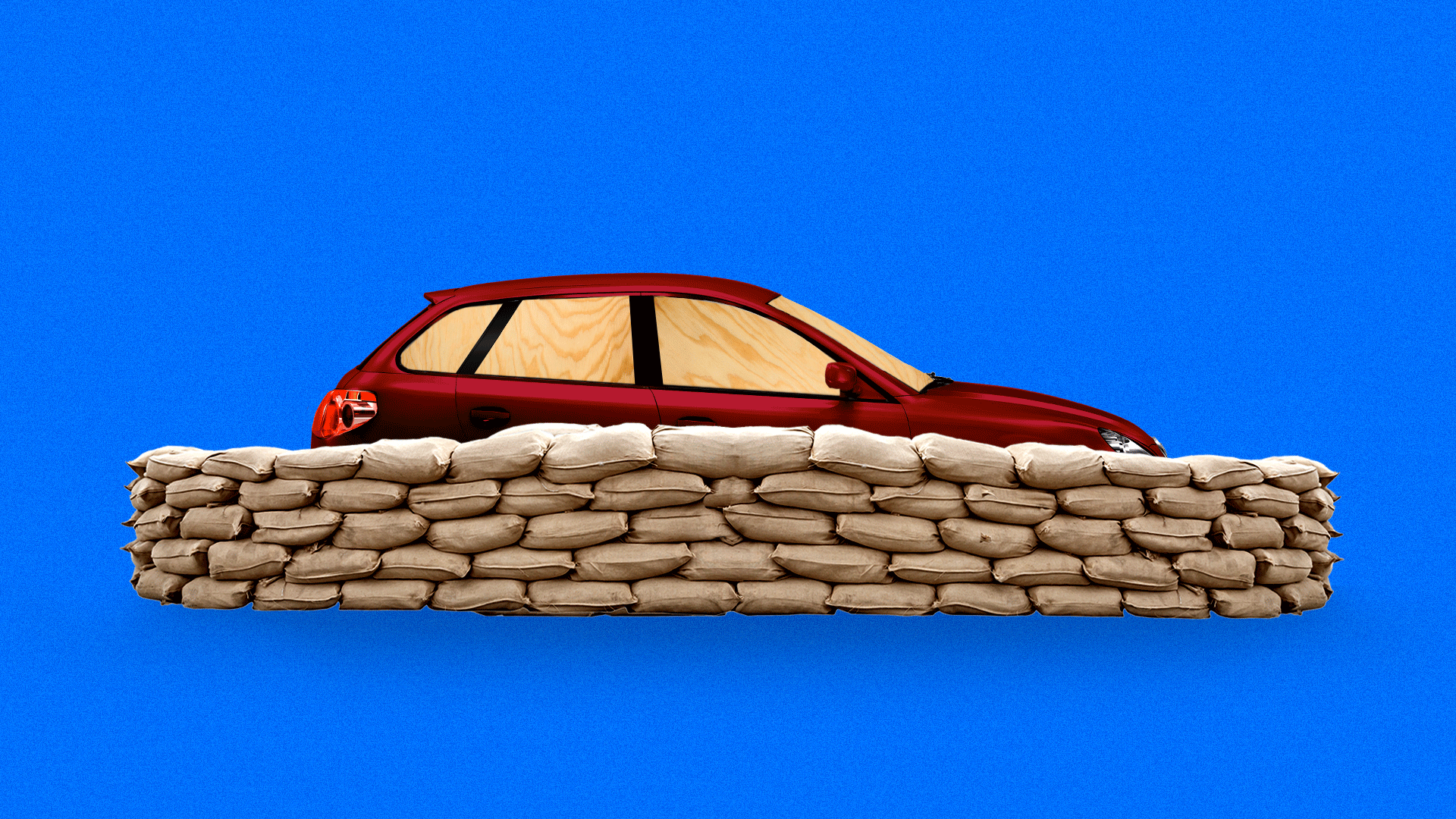 Illustration of a car behind sandbags with wood panels for windows.