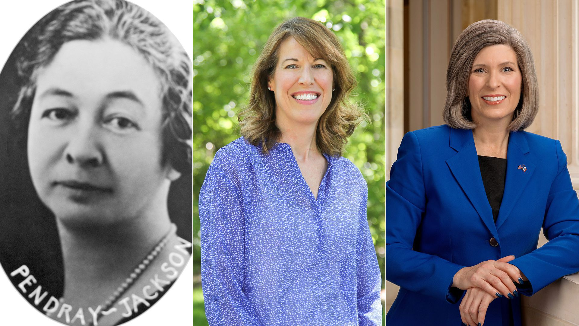 Collage picture of Carolyn Campbell Pendray, Rep. Cindy Axe and Sen. Joni Ernst