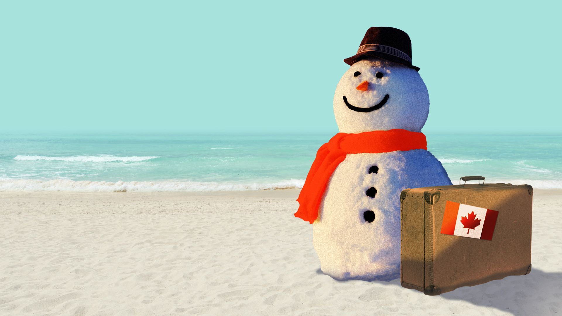 Illustration of a snowman next to a suitcase with a Canadian flag stamp on it on a beach