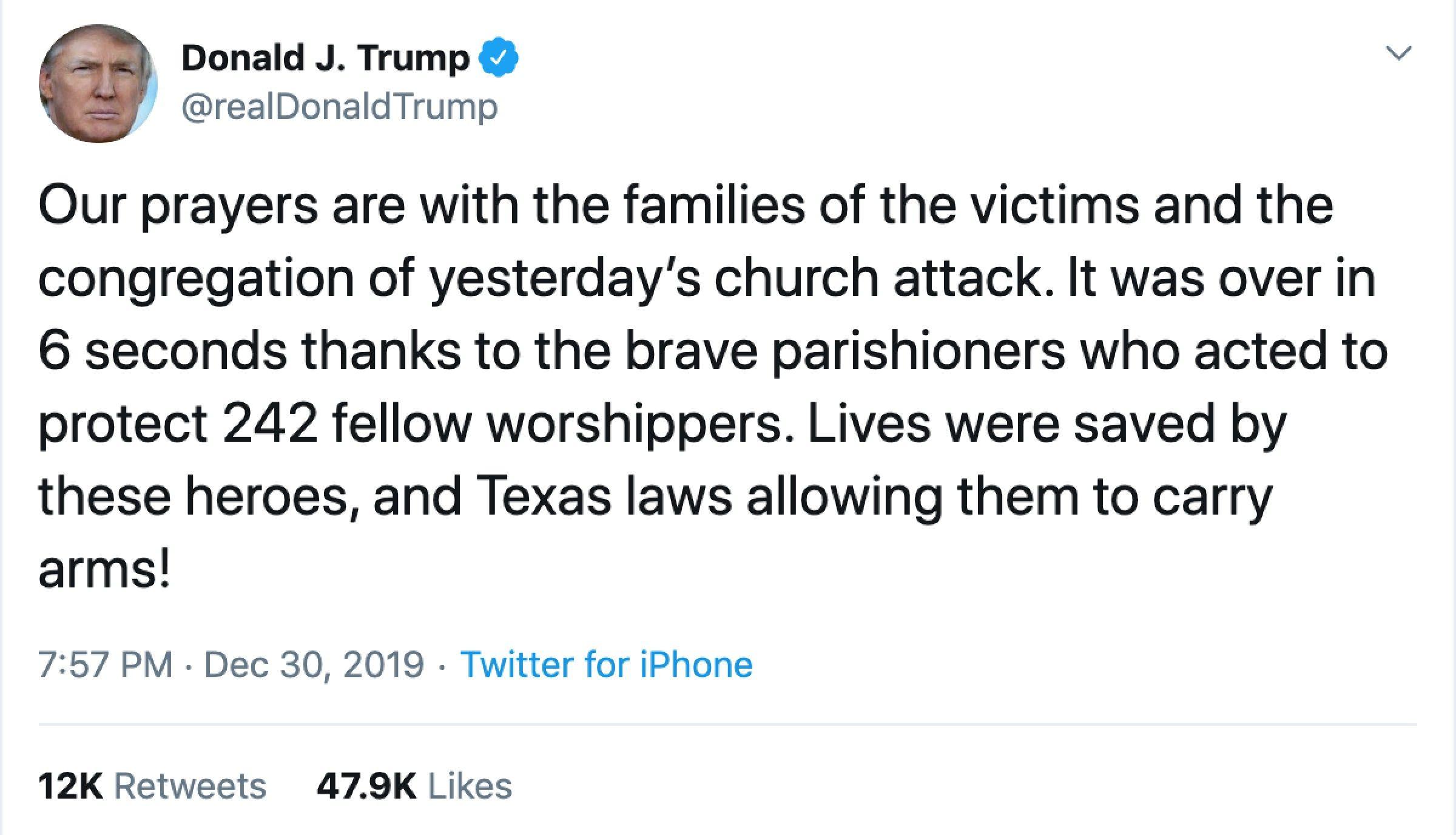 Trump praises Texas parishioners who fatally shot gunman and state gun laws - Axios