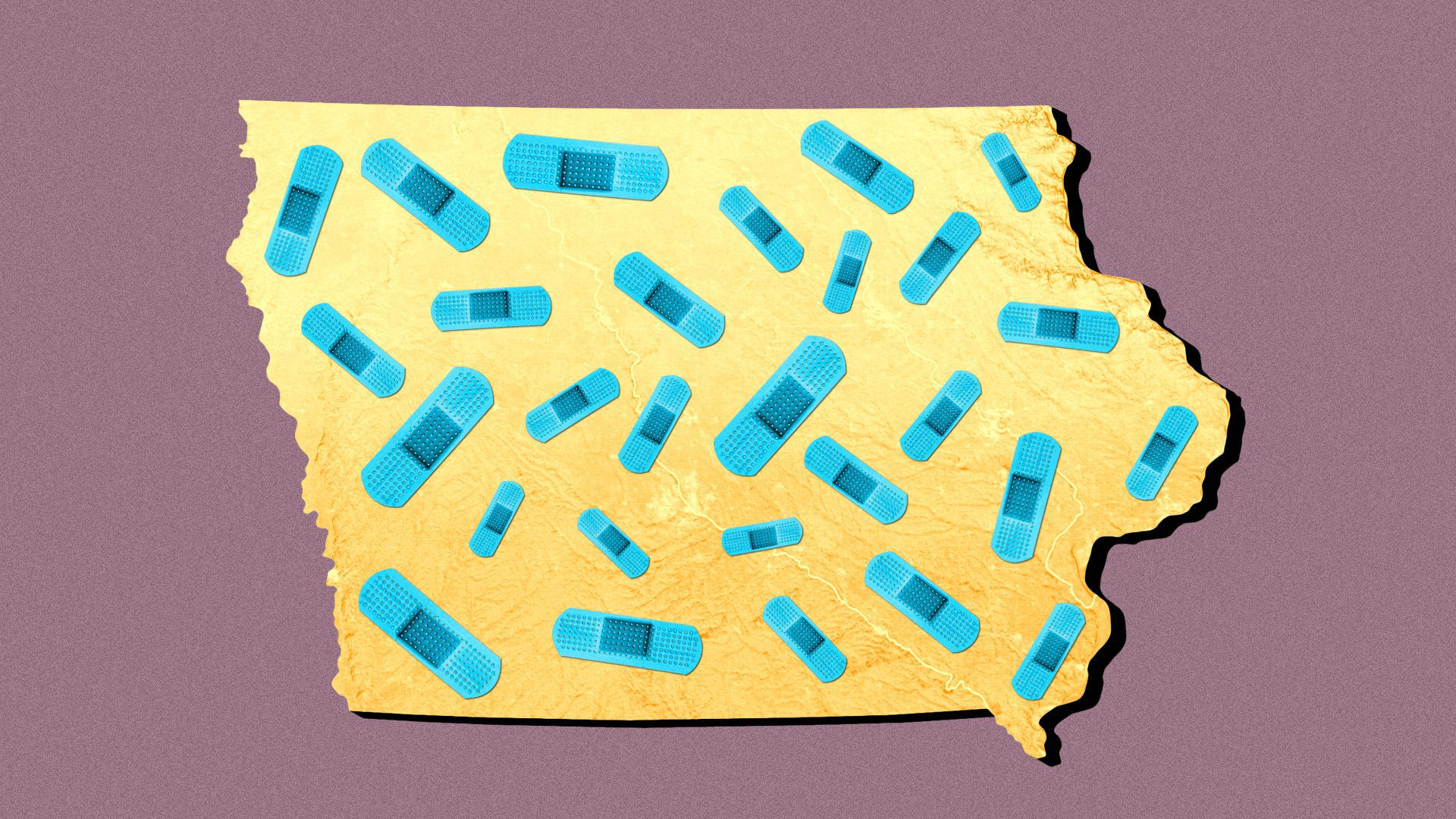 Illustration of the state of Iowa covered in bandages.