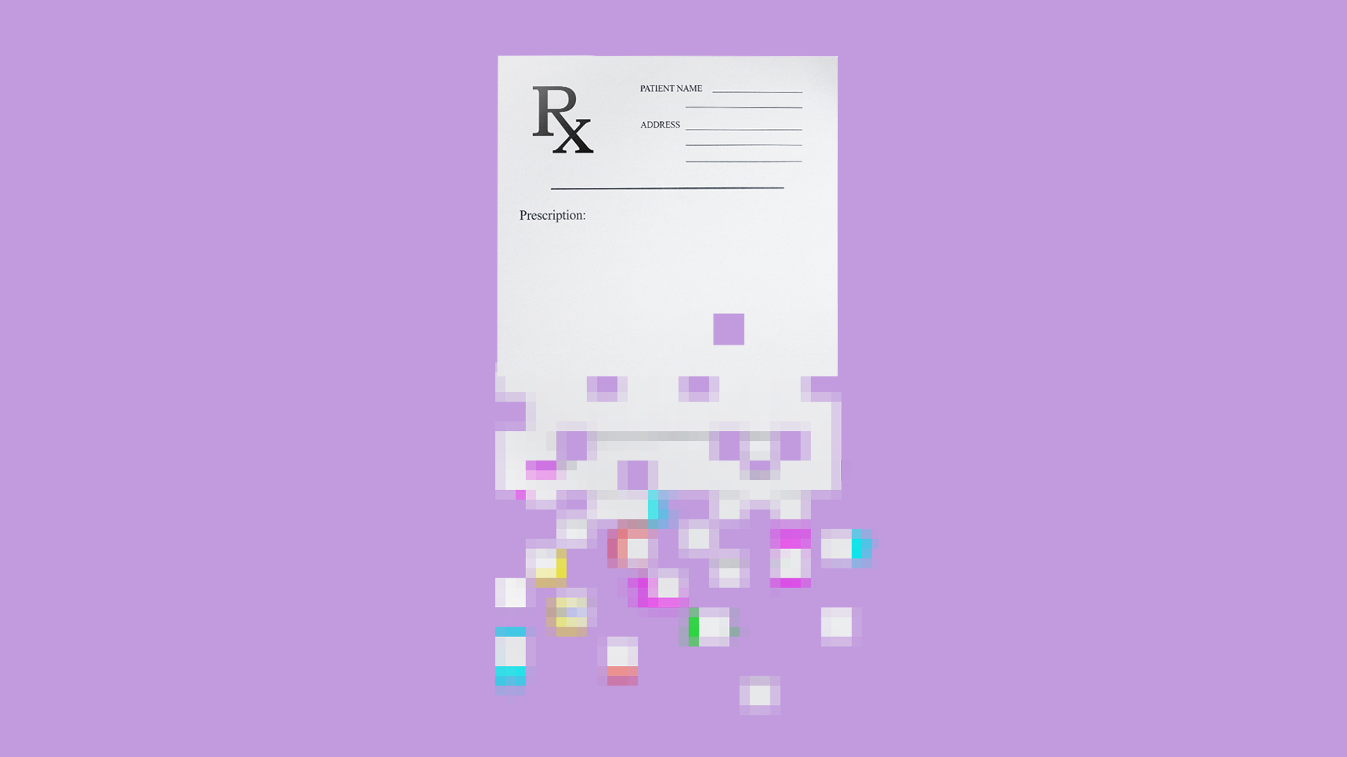 Illustration of a prescription paper being digitized.