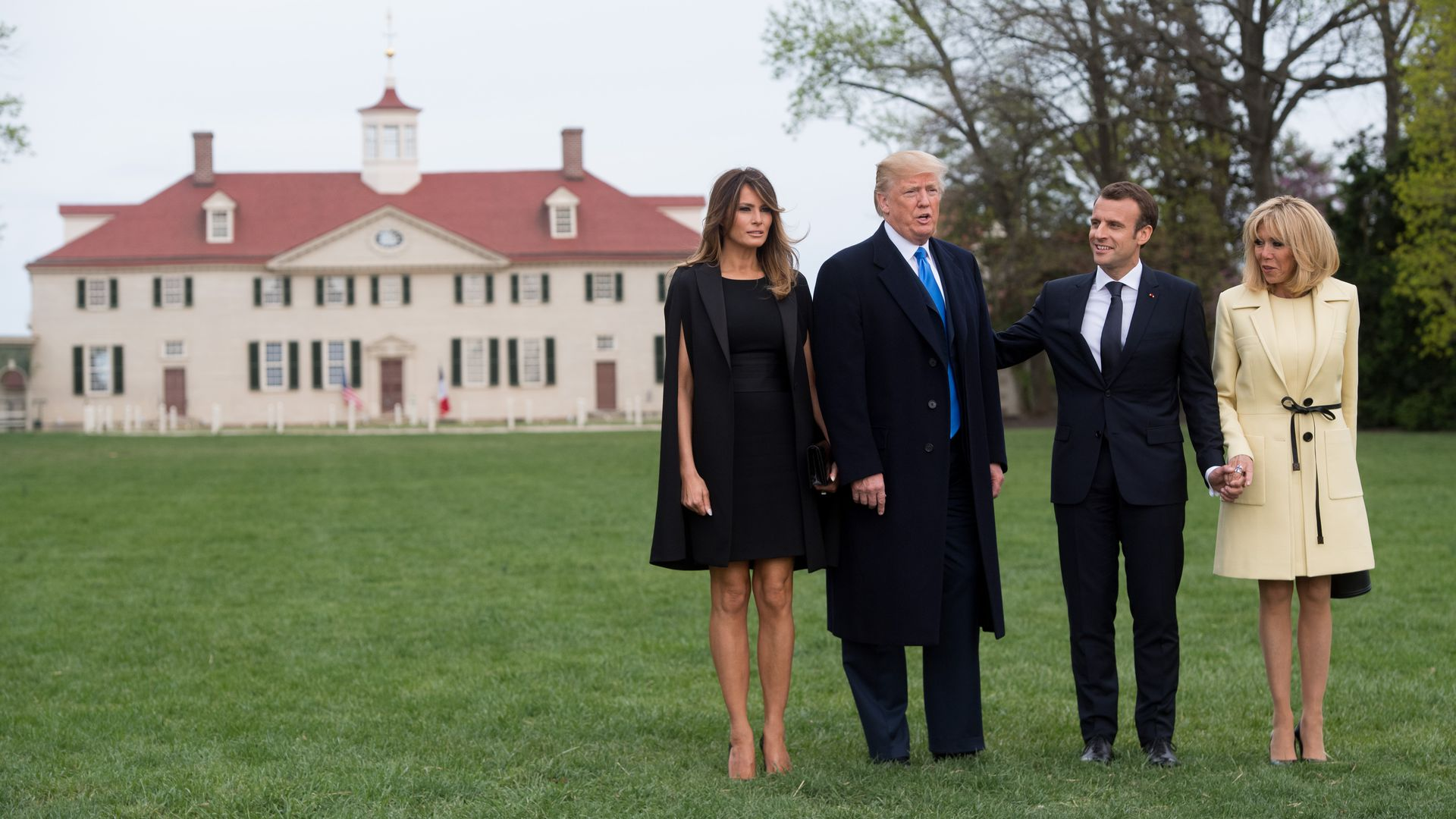 Melania, Trump, Macron and Brigitte stand in front of George Washington's home