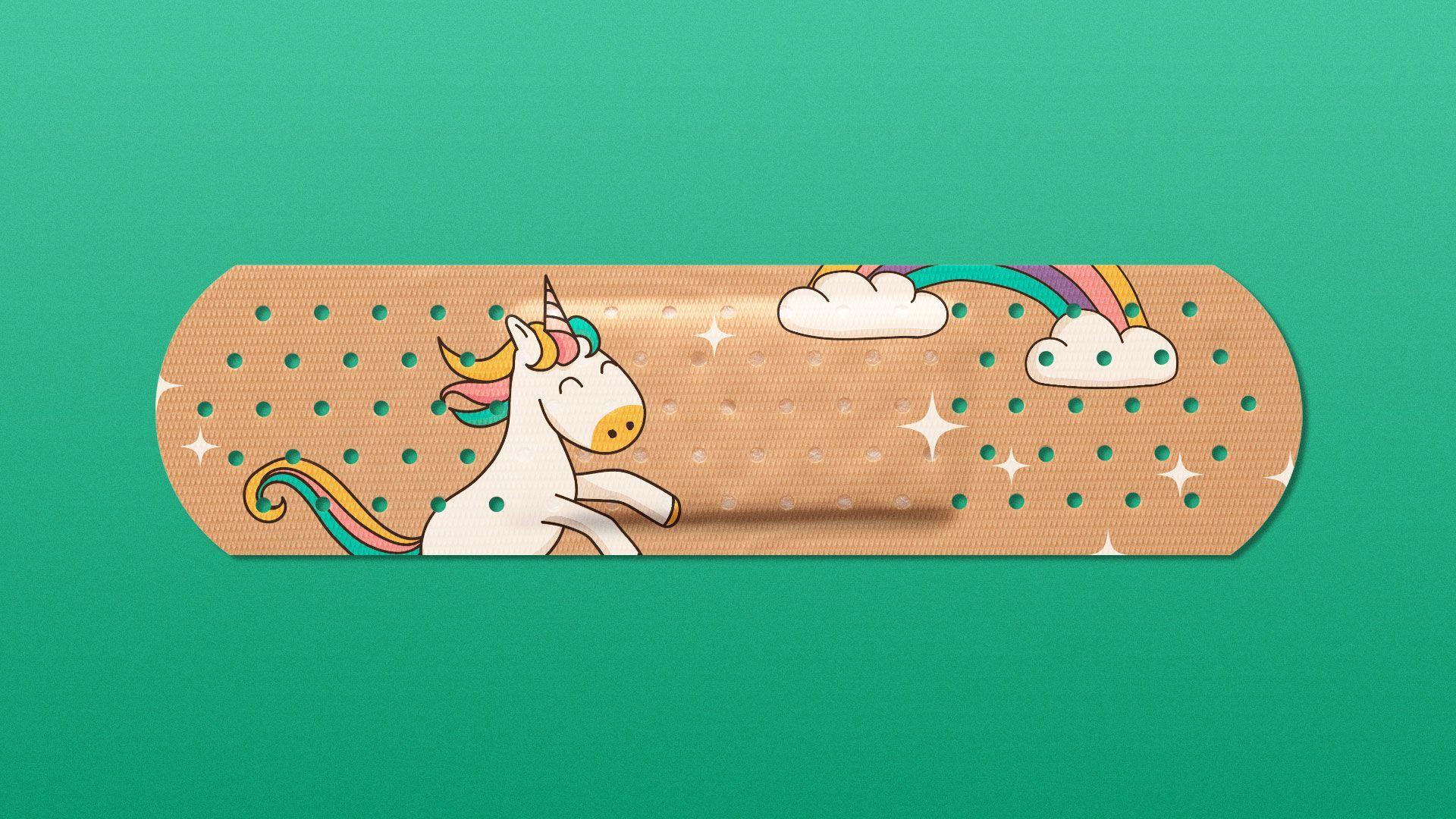 Illustration of bandage with a children's unicorn pattern