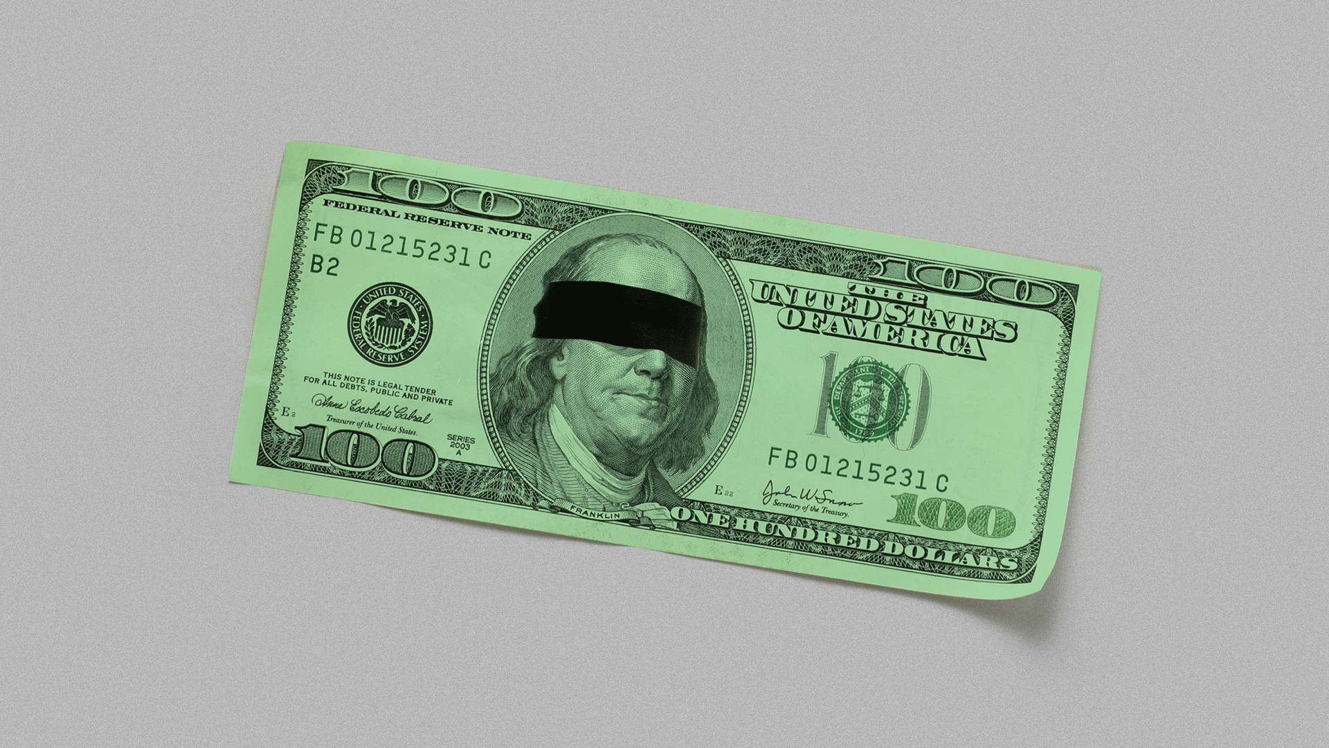 Illustration of a one hundred dollar bill with Benjamin Franklin wearing a blindfold.