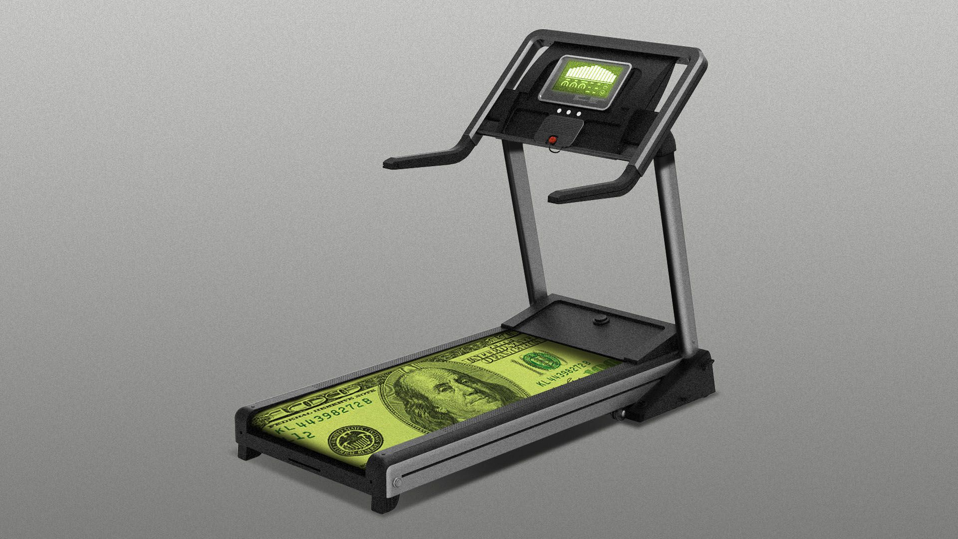 Illustration of a treadmill with a hundred dollar bill for a running belt