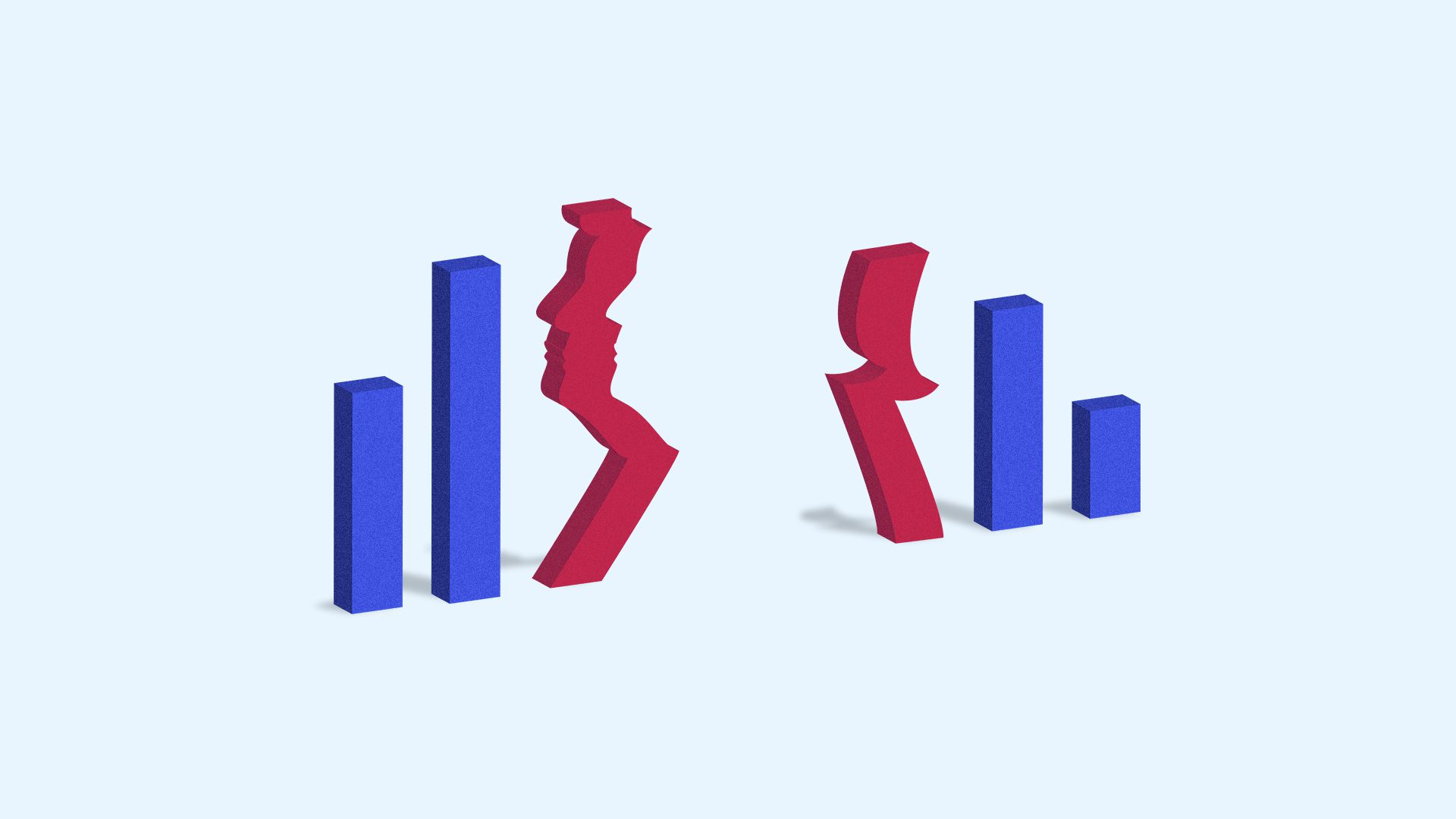 Illustration of a bar chart with Trump's silhouette in the middle