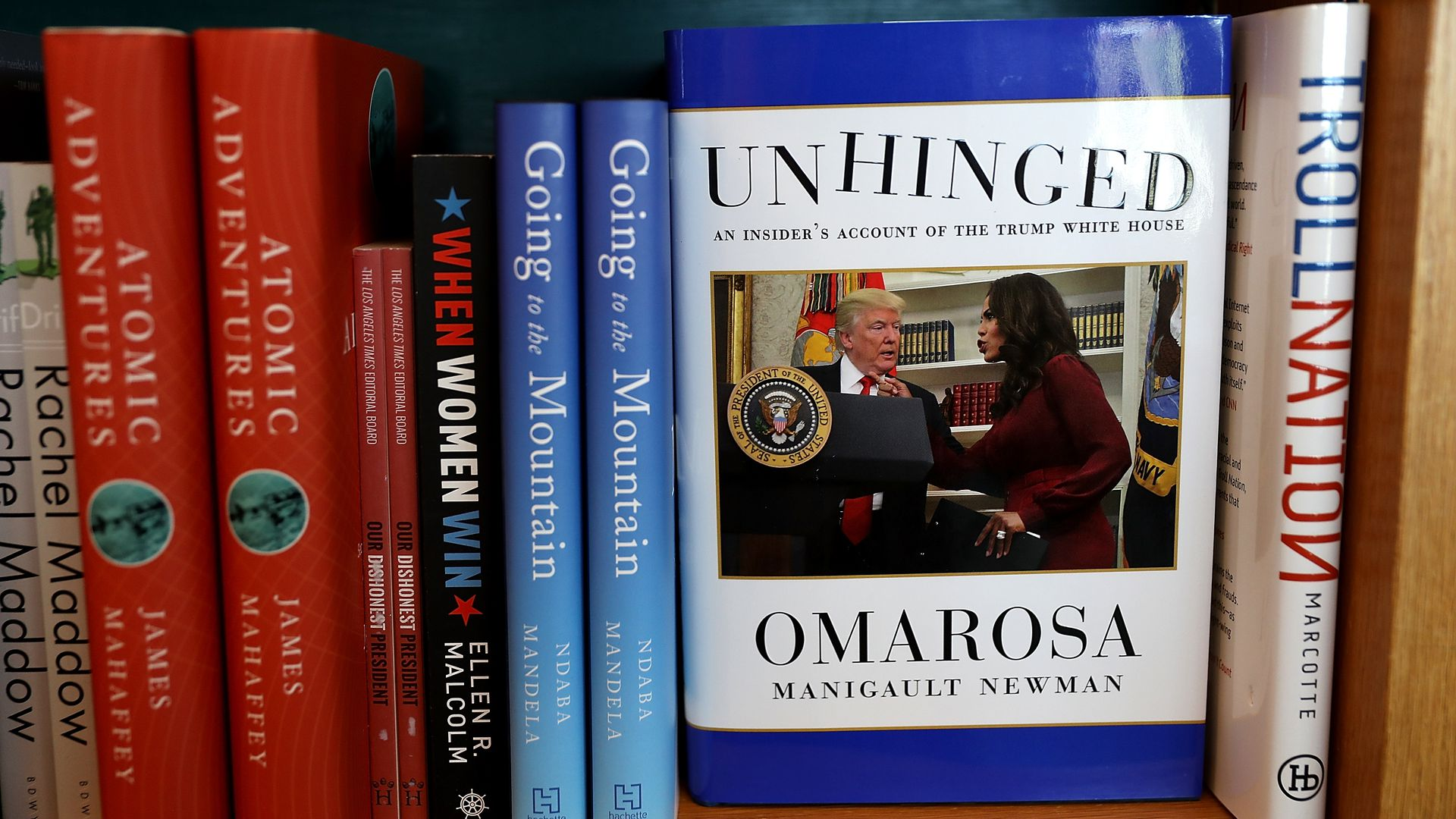 Omarosa's new book on a book shelf.