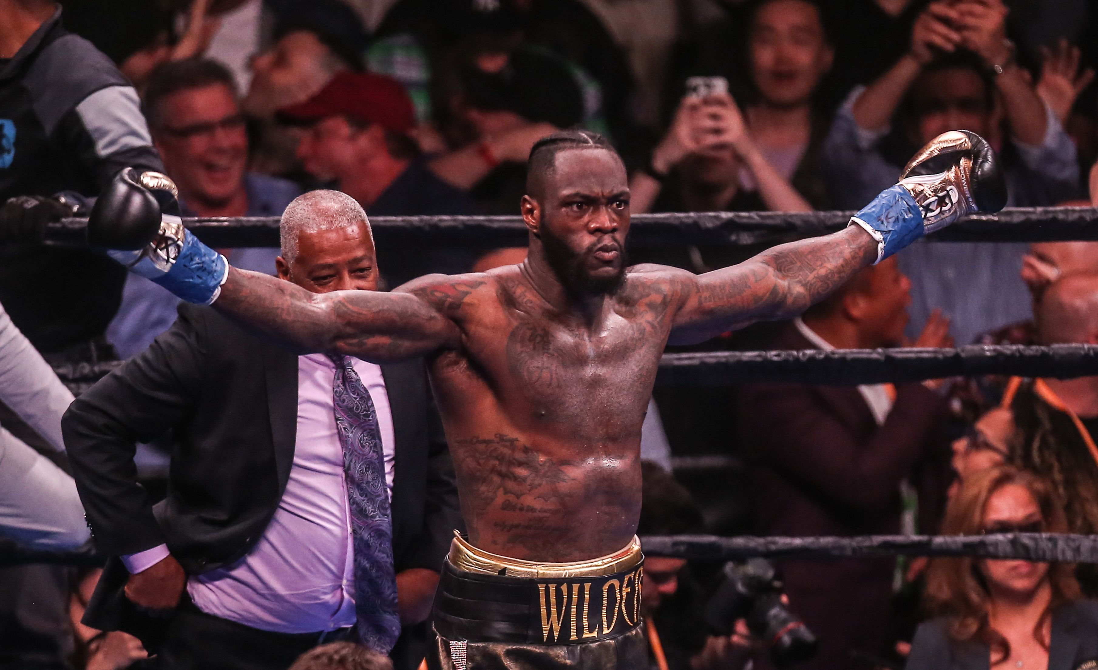 Deontay Wilder celebrating his victory