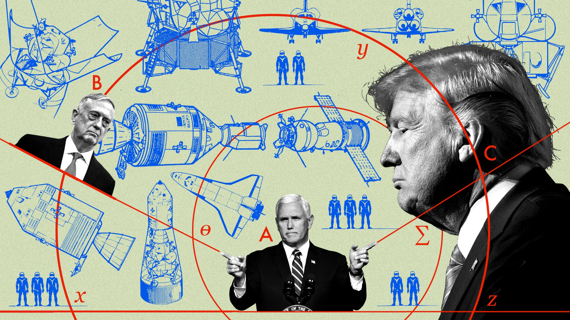 This diagram shows Mike Pence, John Kelly and Donald Trump with space stuff