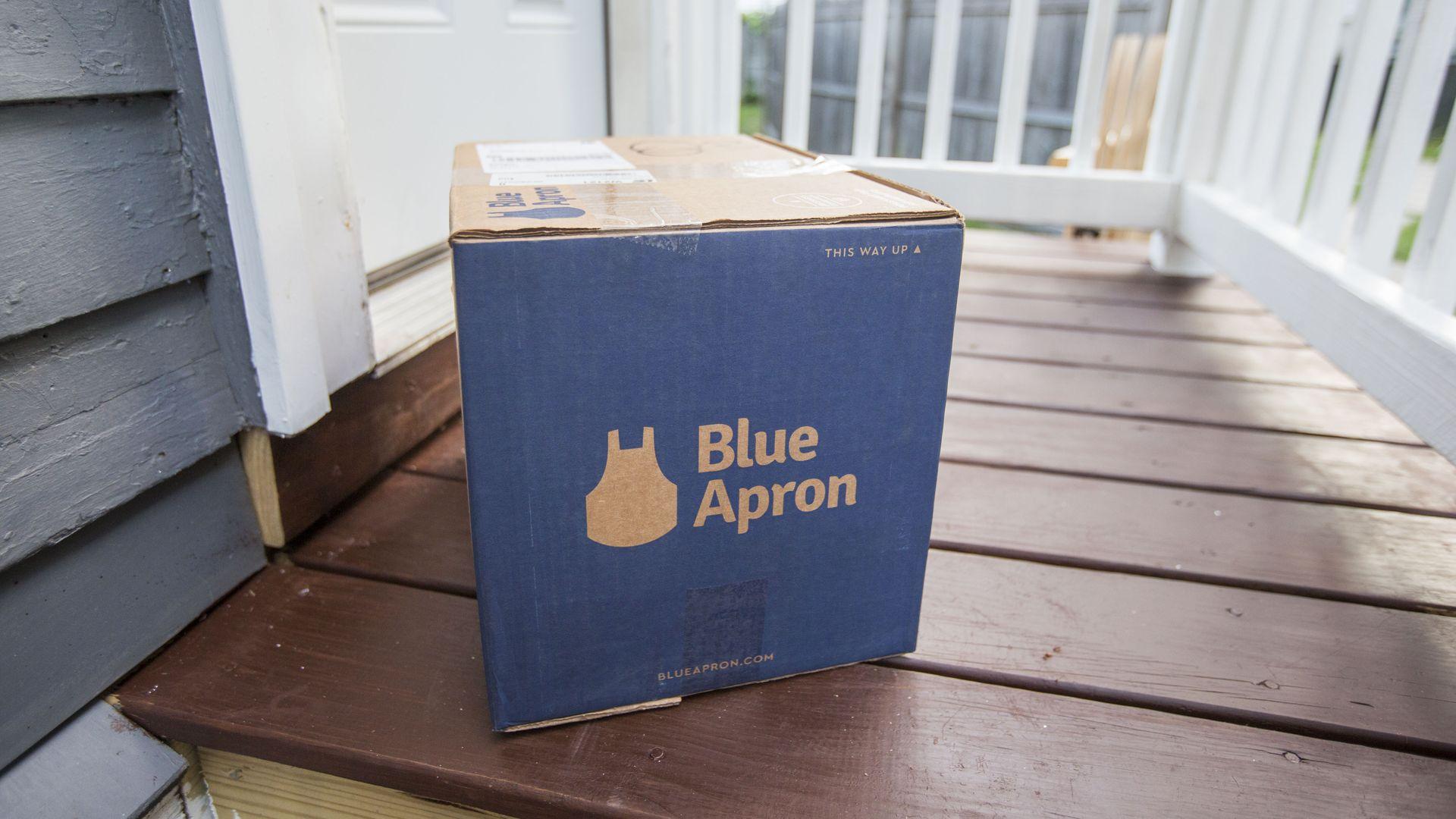 A Blue Apron box on a doorstep
