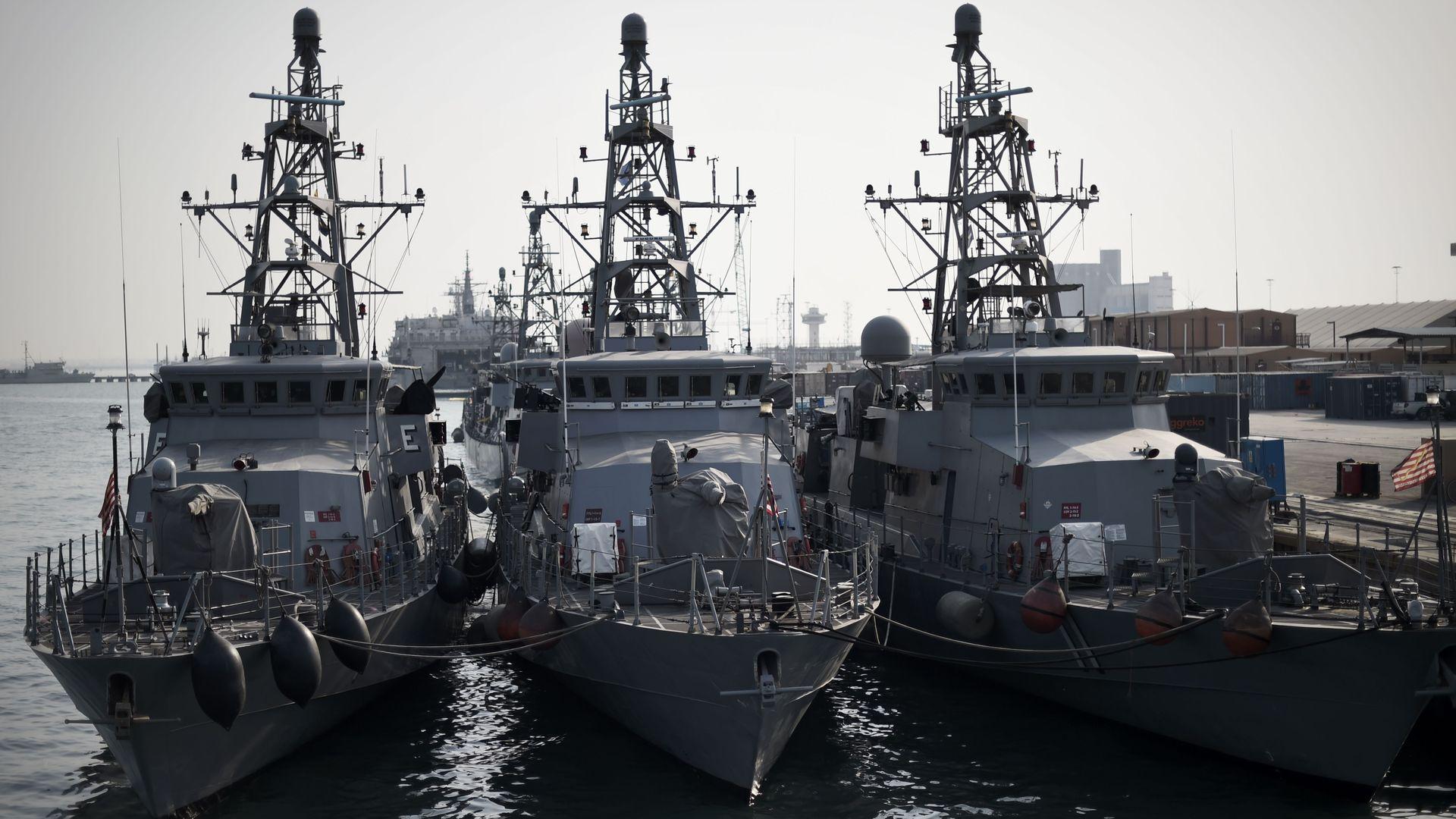U.S. naval ships at dock