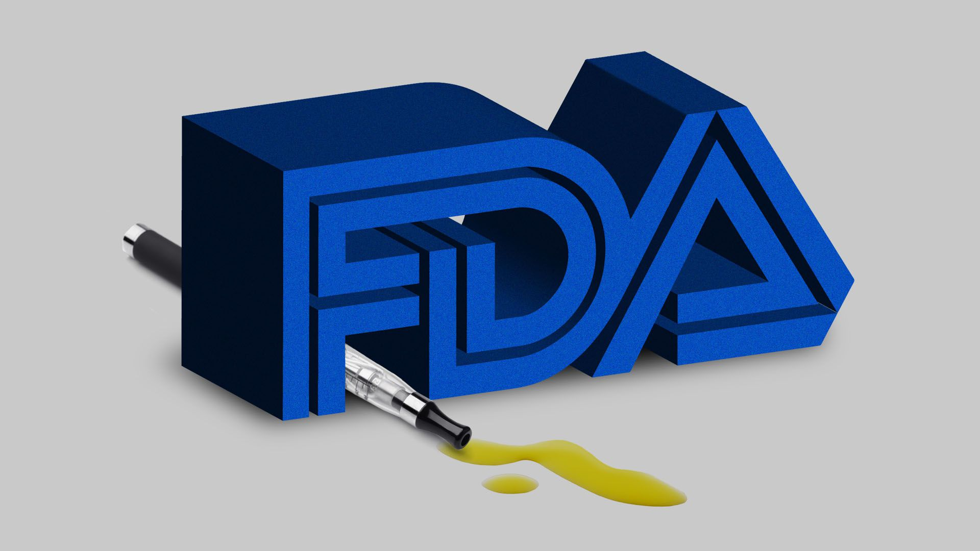 In this illustration, a vape pen leaks while laying between the letters of the FDA logo.