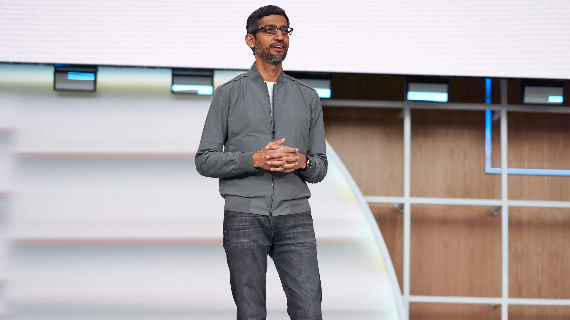 Google's Sundar Pichai speaking at their developer conference Tuesday