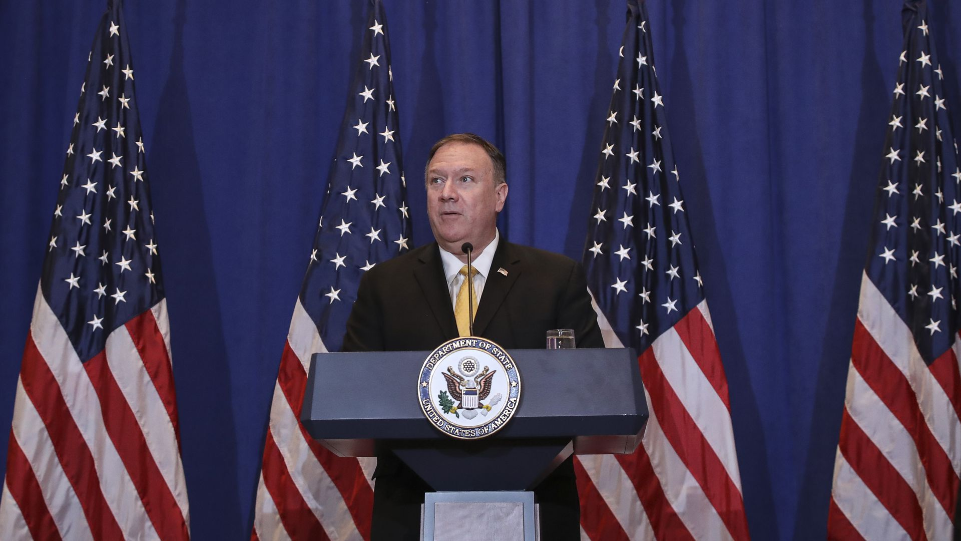 Secretary of State Mike Pompeo speaks during a press conference on the sidelines of the United Nations General Assembly on September 26