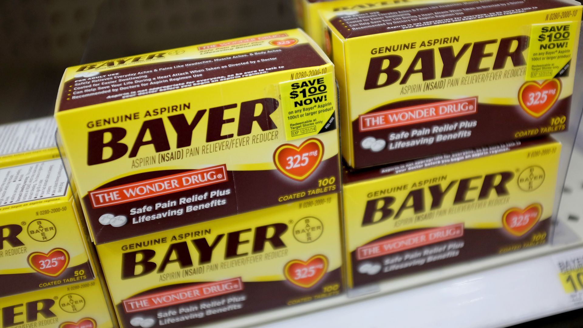 Boxes of Bayer painkillers on a shelf