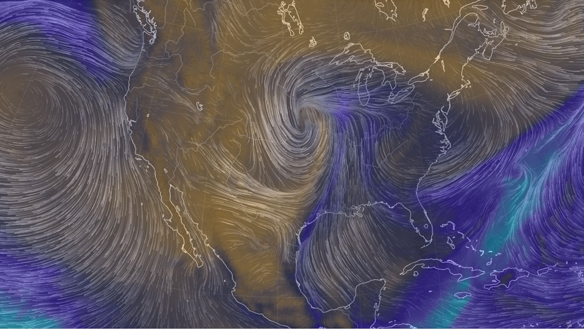 Computer model simulation showing an intense low pressure system in the center of the U.S. late Wednesday.