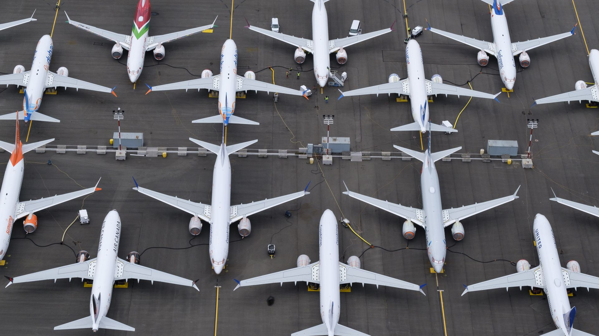 Grounded 737 MAX planes in Seattle, WA