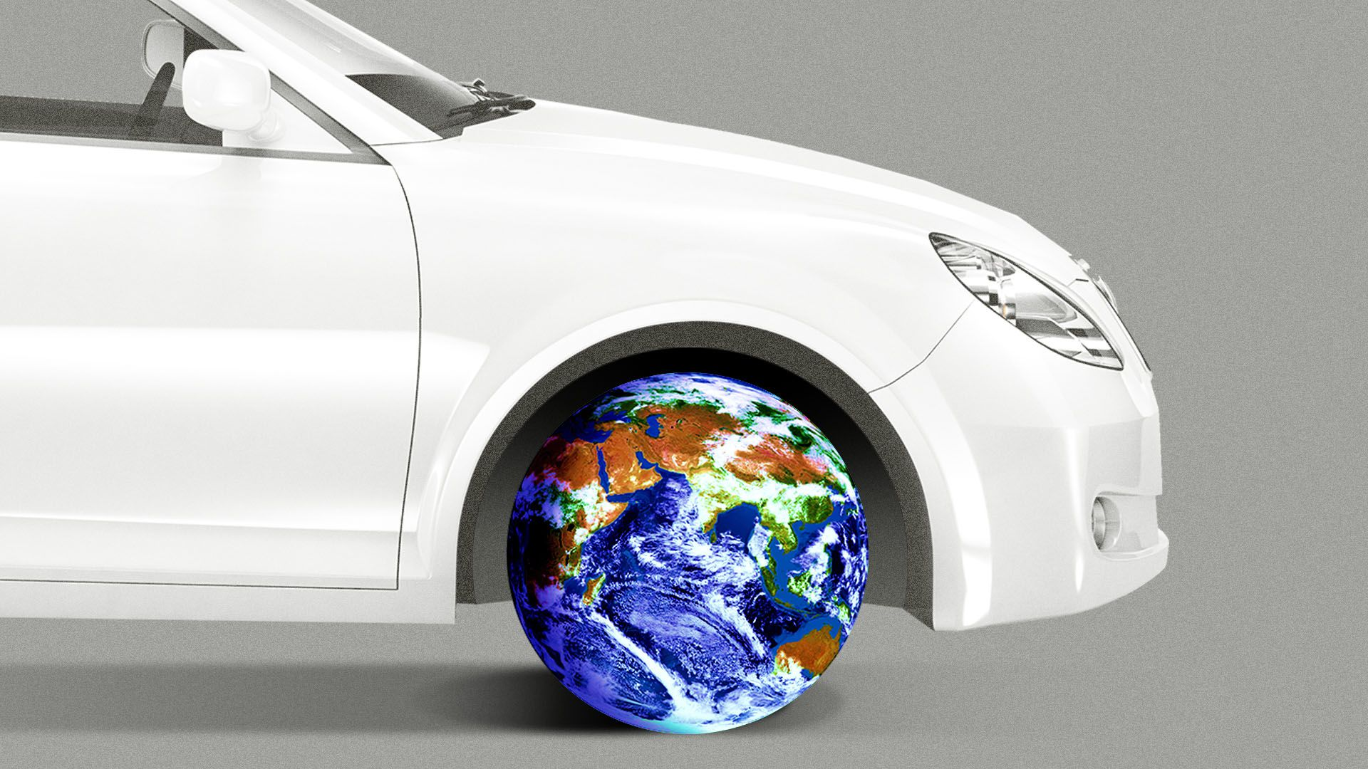 Illustration of a car with a globe for a wheel