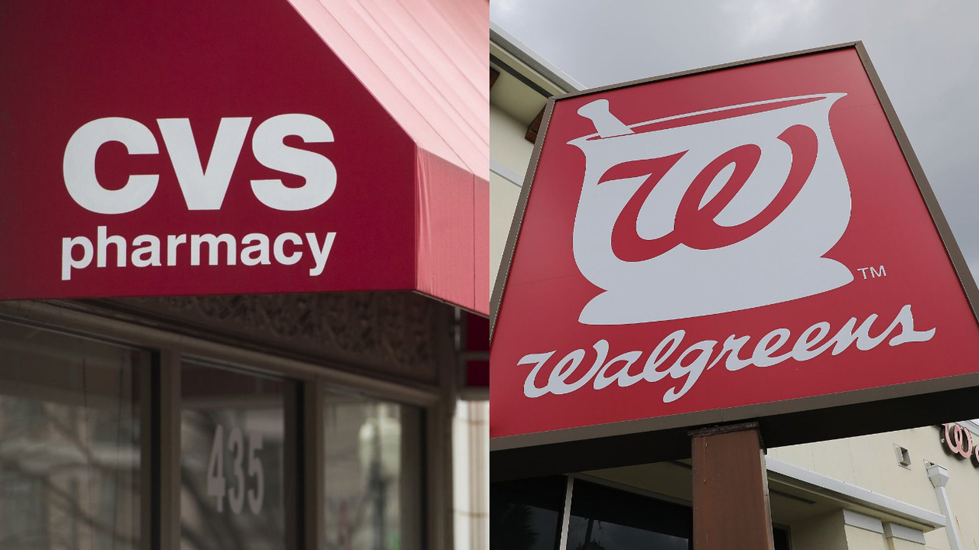 The Walgreens and CVS logos.