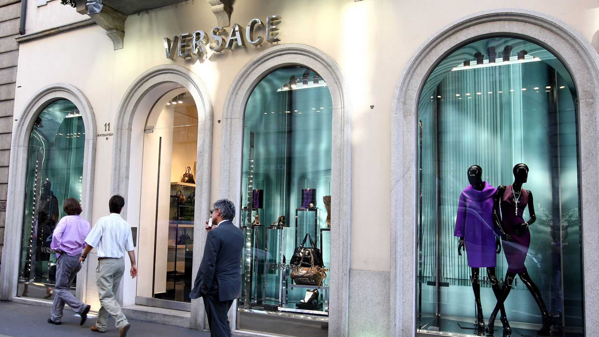 Outside of Versace store.