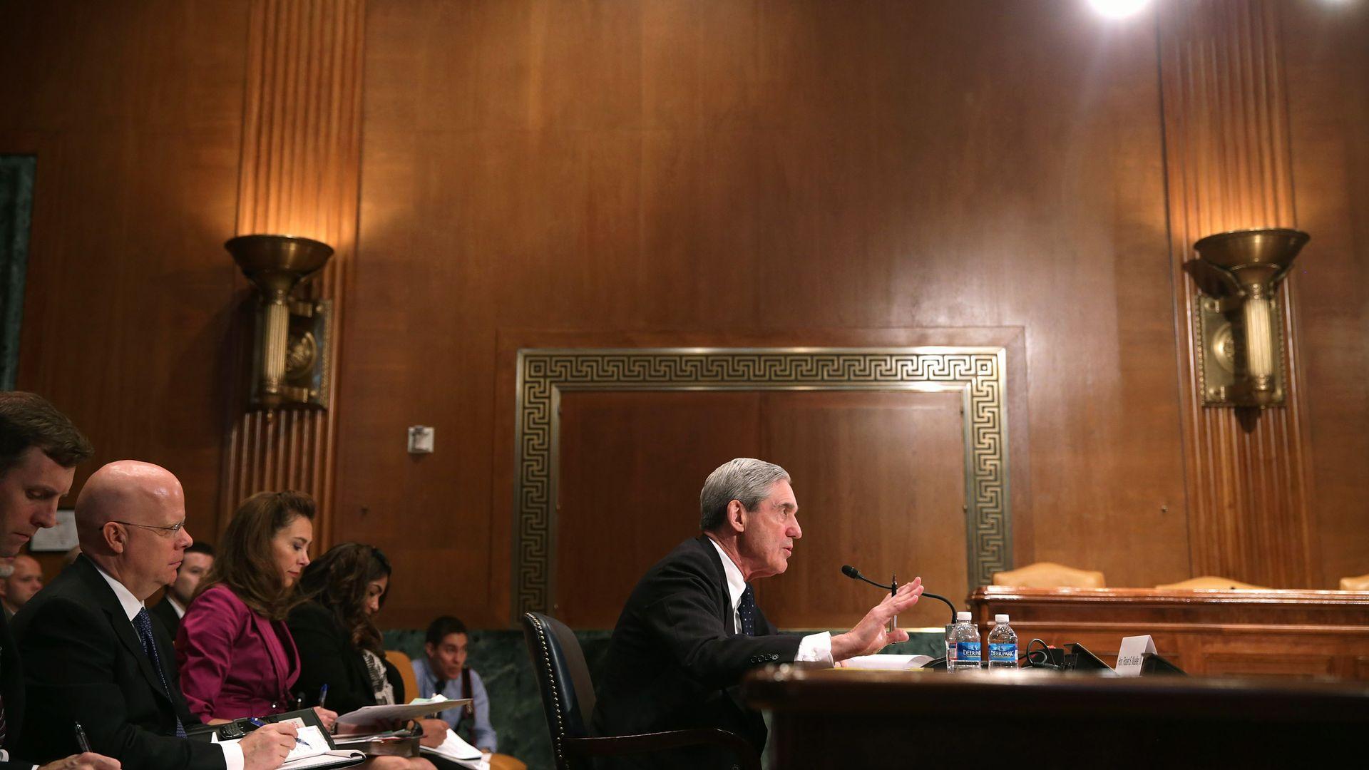 In this image, Mueller testifies