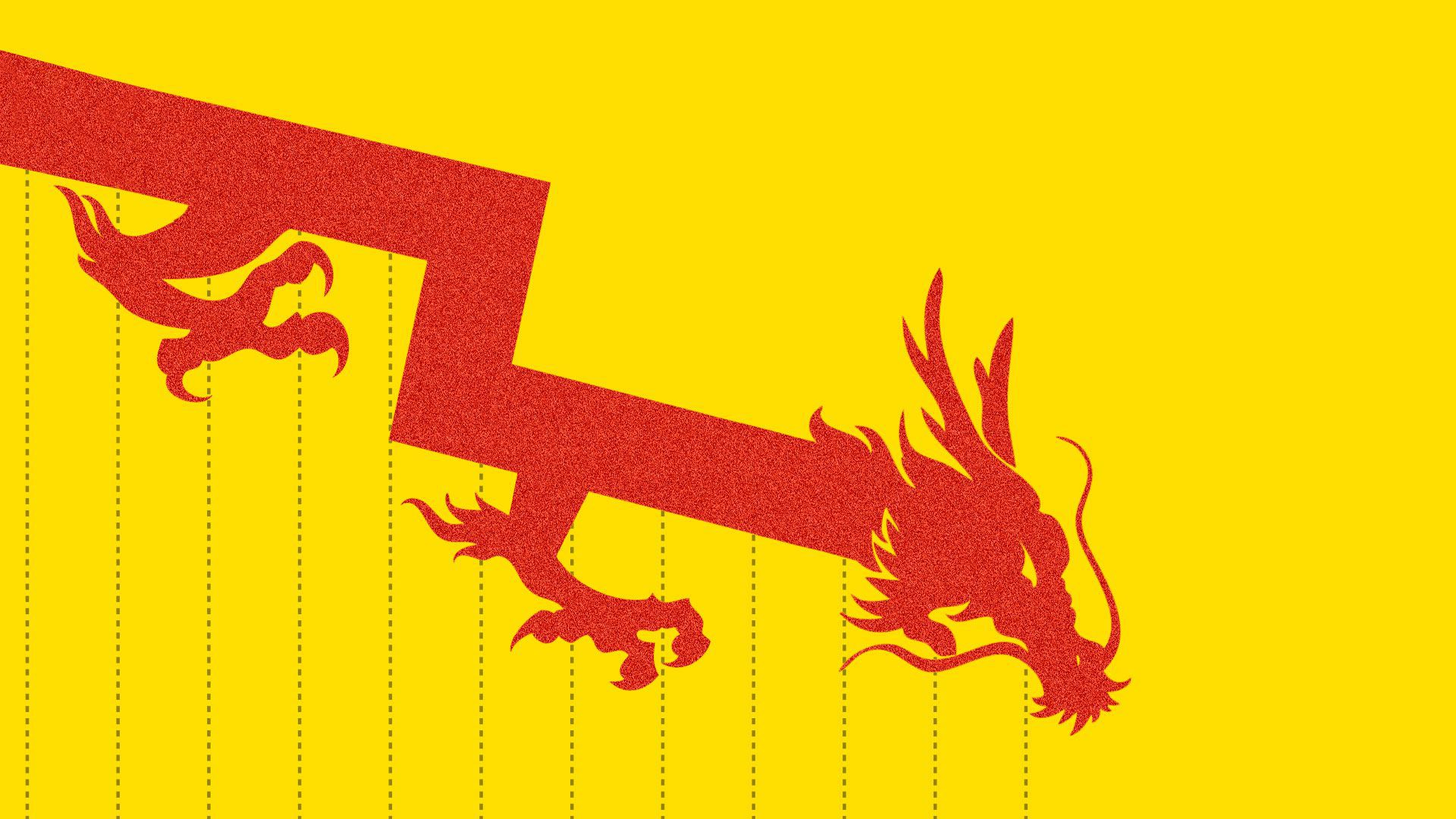 Illustration of downward chart arrow with chinese dragon on end