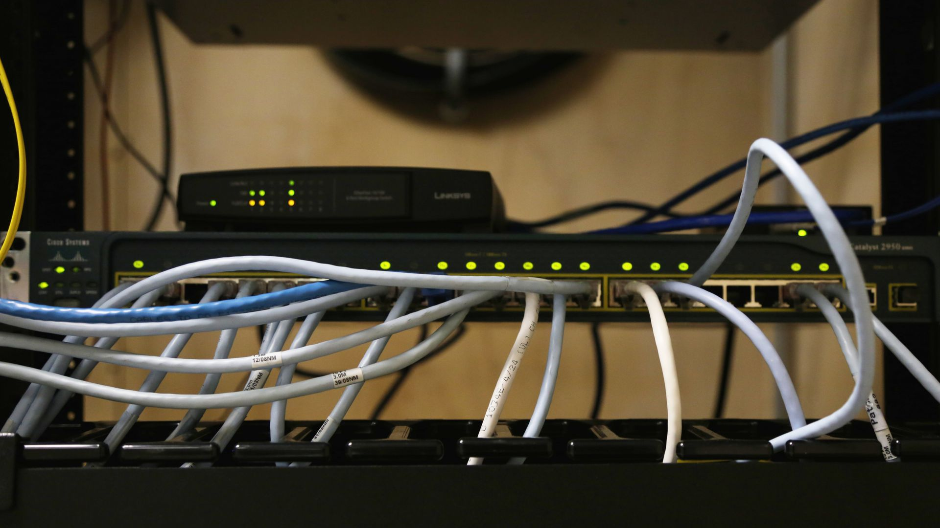 Cables and lights on a router.
