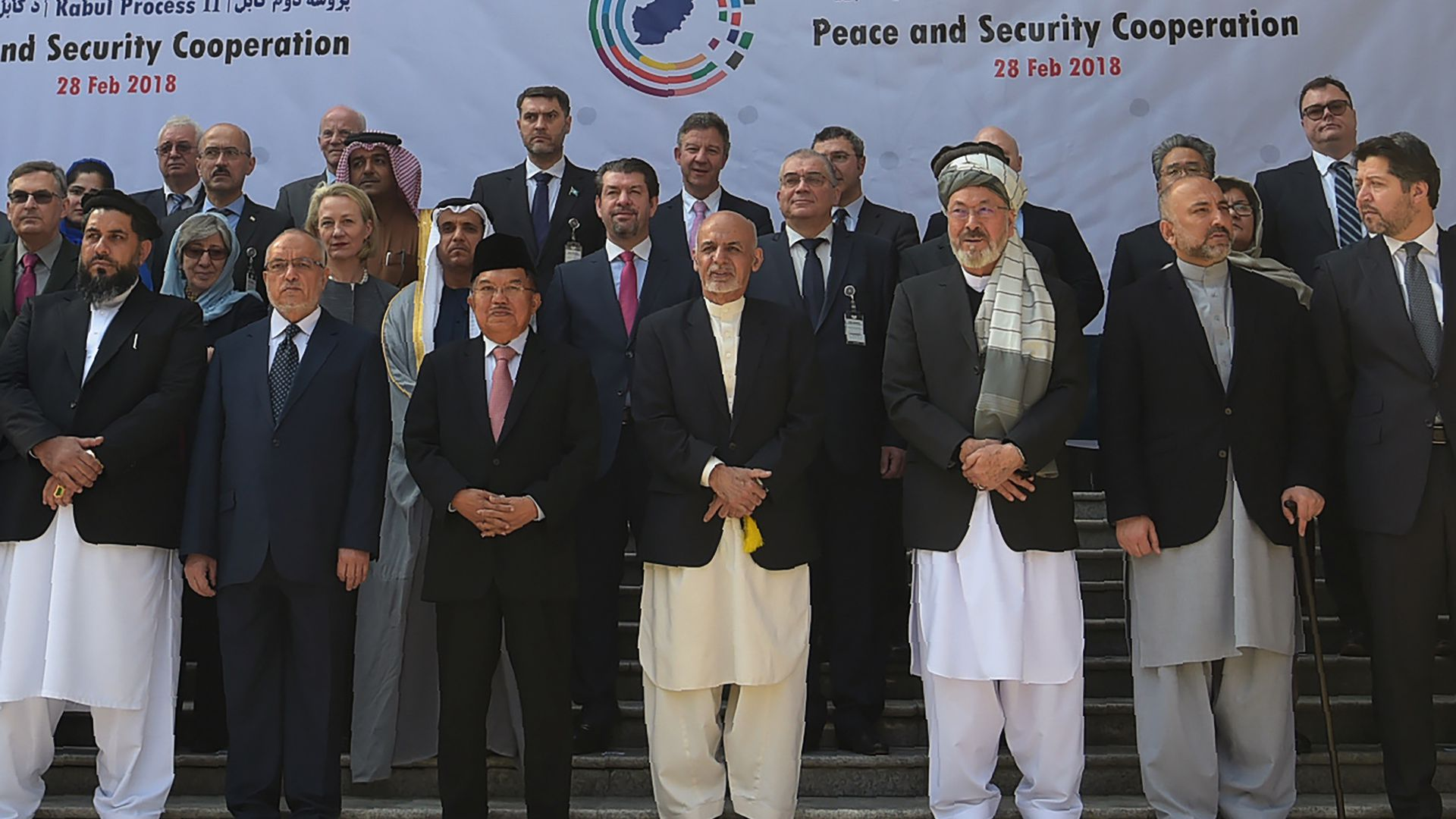 Afghan President Ashraf Ghani at a peace conference in Kabul