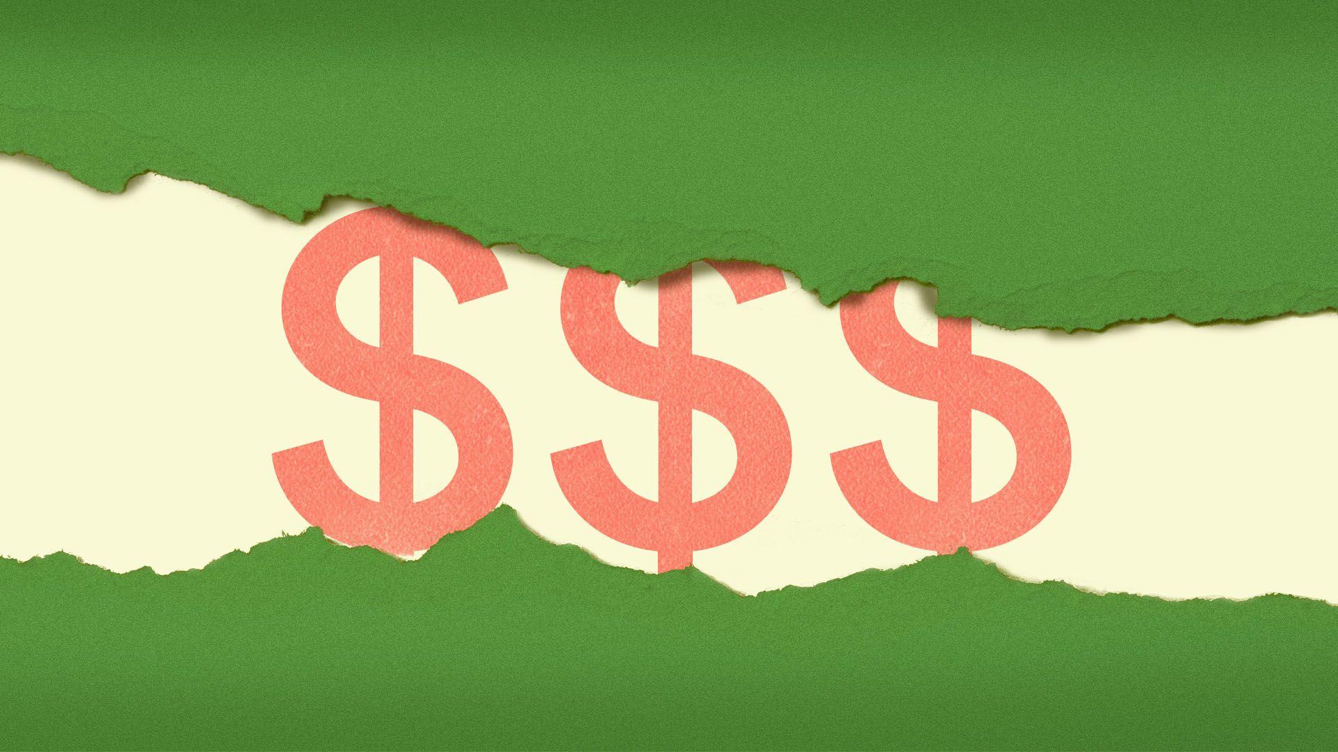 Illustration of dollar signs being revealed under torn paper