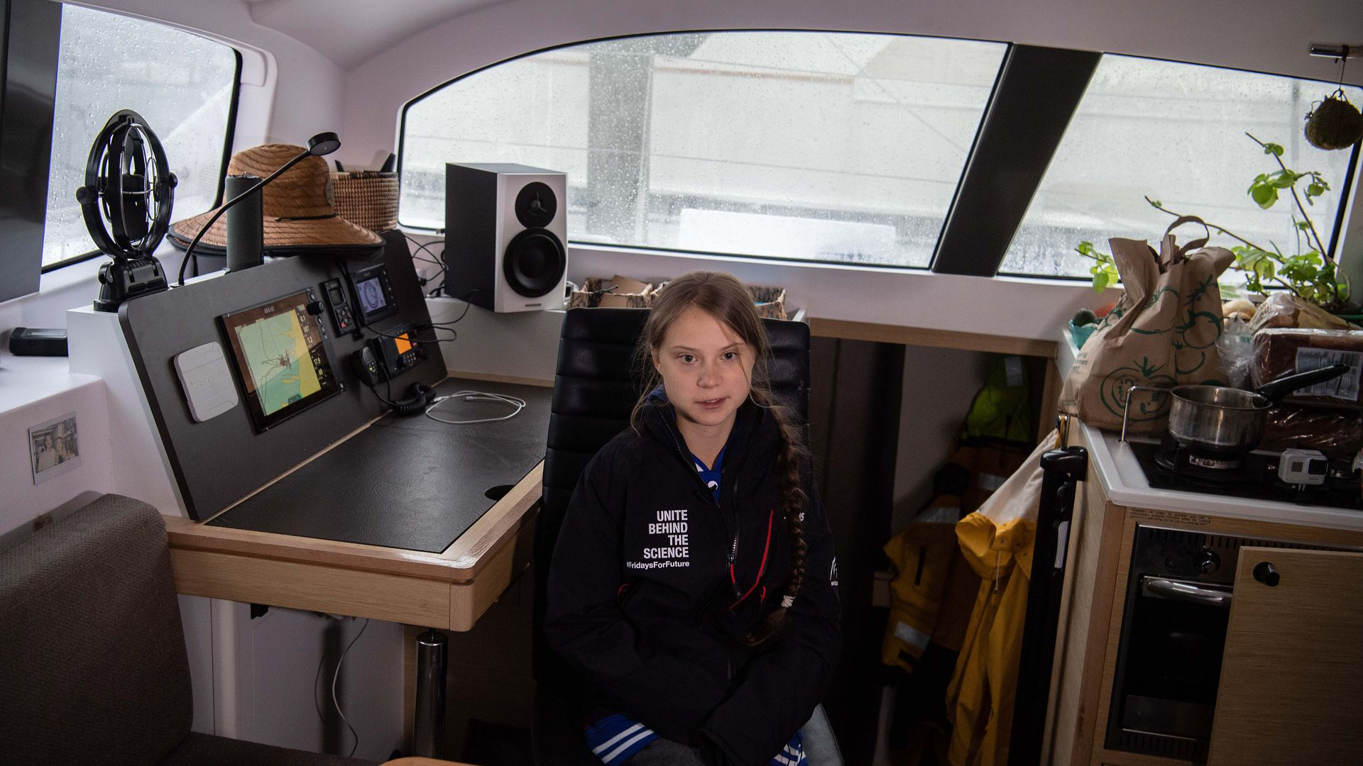 Swedish climate activist Greta Thunberg speaks to AFP during an interview aboard La Vagabonde, the boat she will be taking to return to Europe, in Hampton, Virginia, on November 12