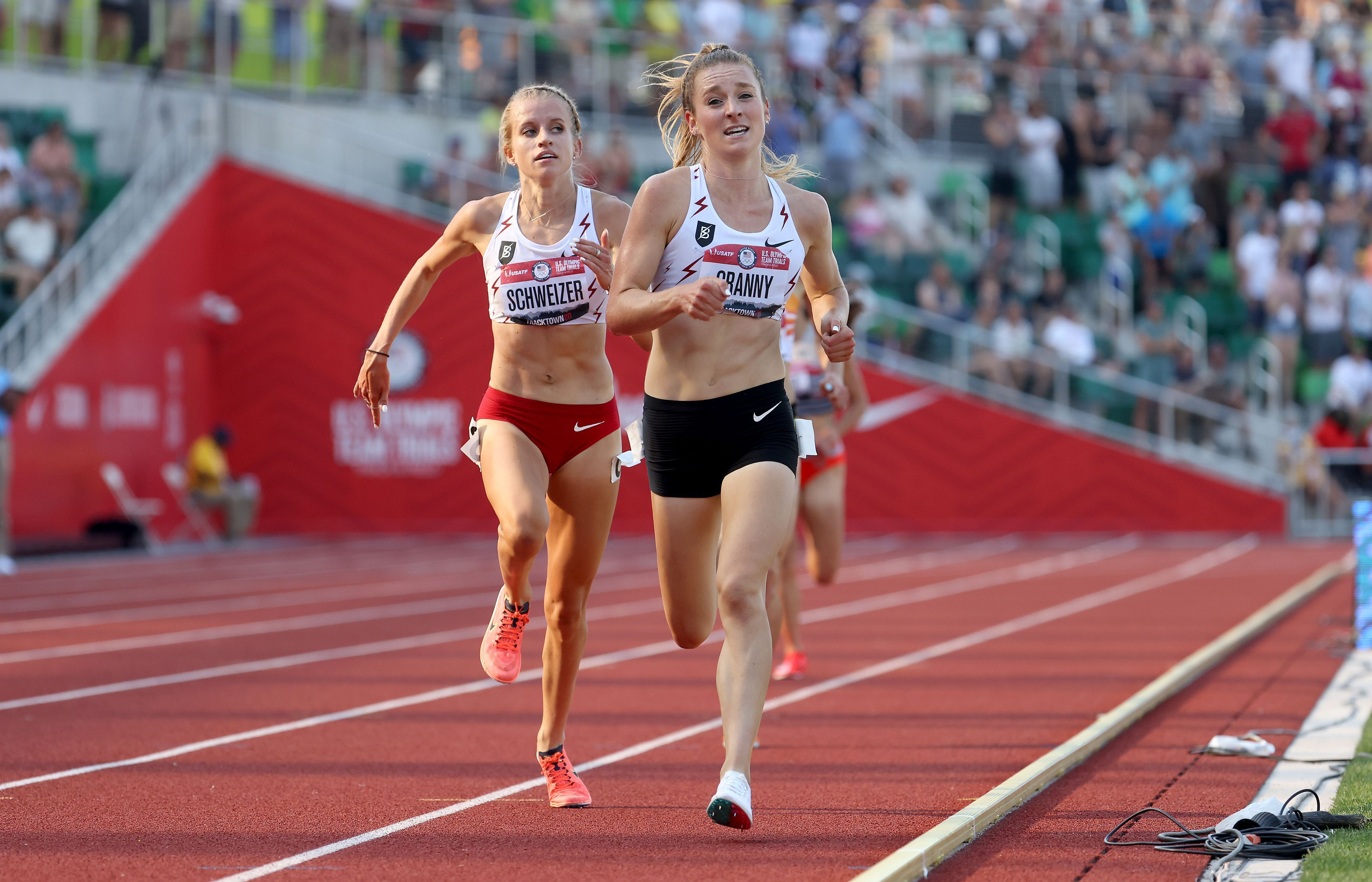Elise Cranny, front, runs the 5000-meter at the U.S. team trials in June. Photo: Andy Lyons/Getty Images