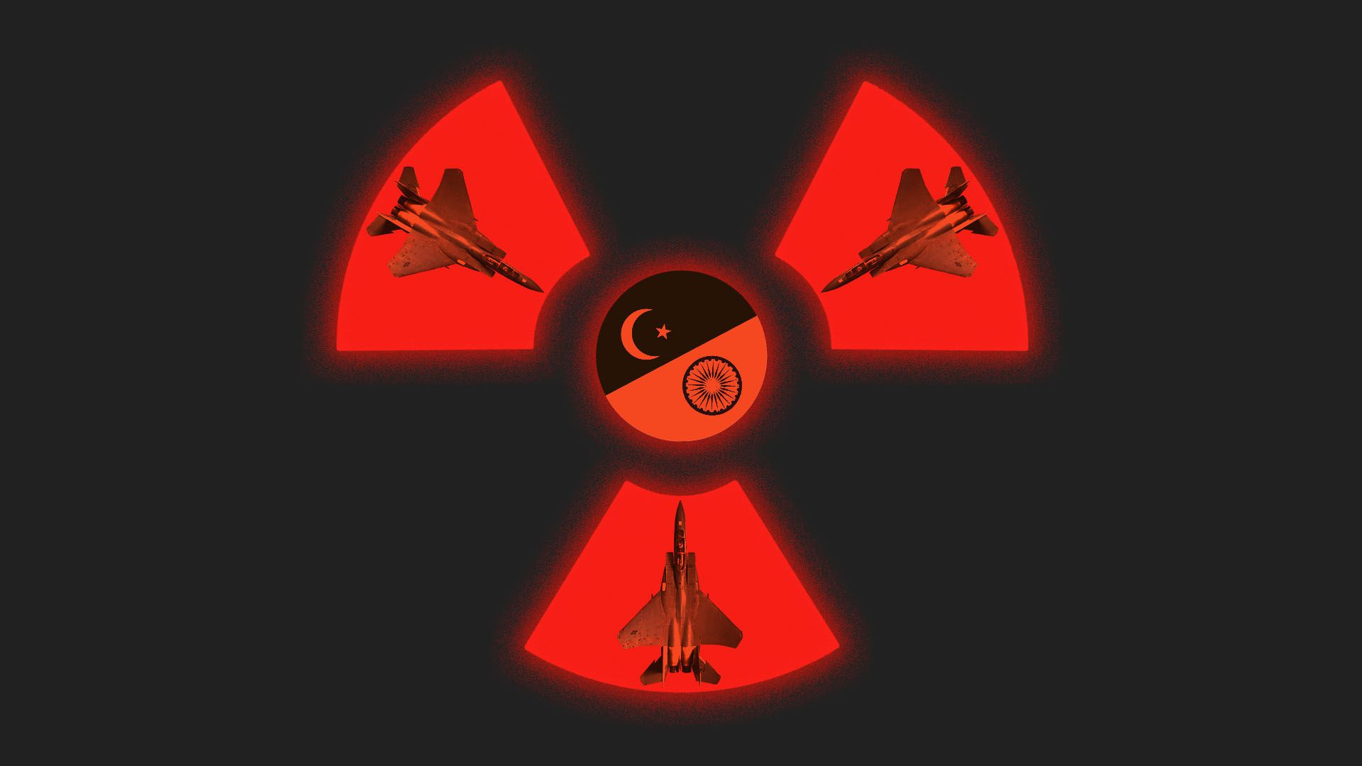 Illustration of nuclear war symbol made up of fighter jets and flags of Pakistan and India
